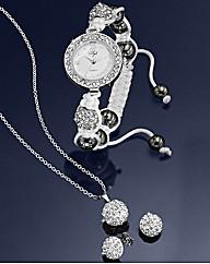 Crystal Watch, Pendant & Earring Set