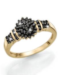 9 Carat Gold Black Diamond Cluster Ring