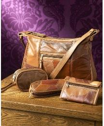 4 Piece Patchwork Leather Handbag Set