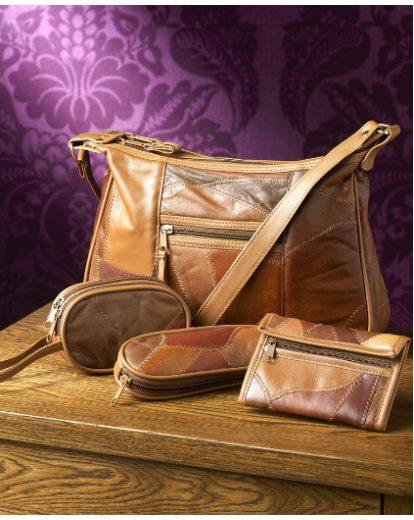 Tan Four Piece Patchwork Leather Handbag Set