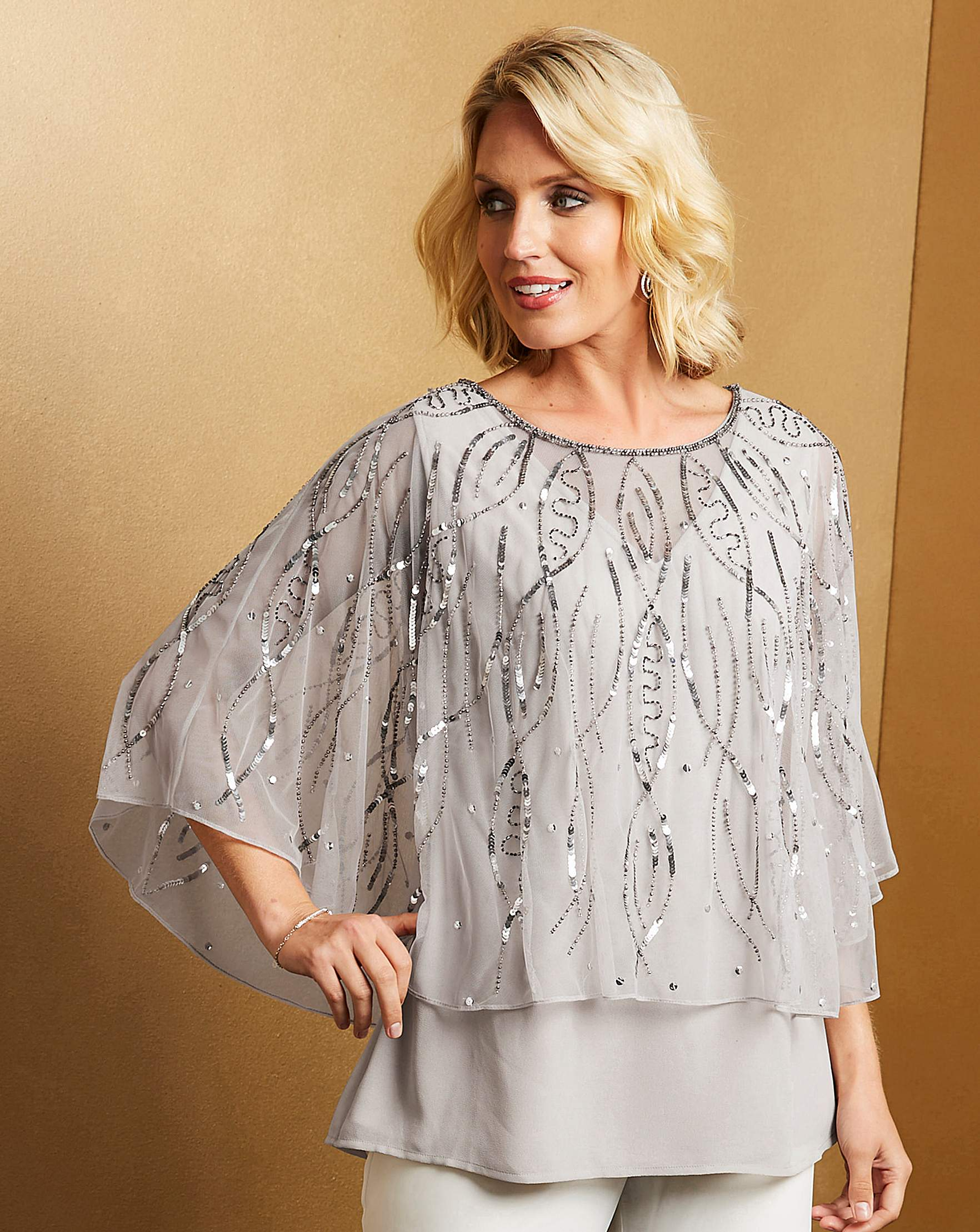 Nightingales Beaded Cape Top Oxendales