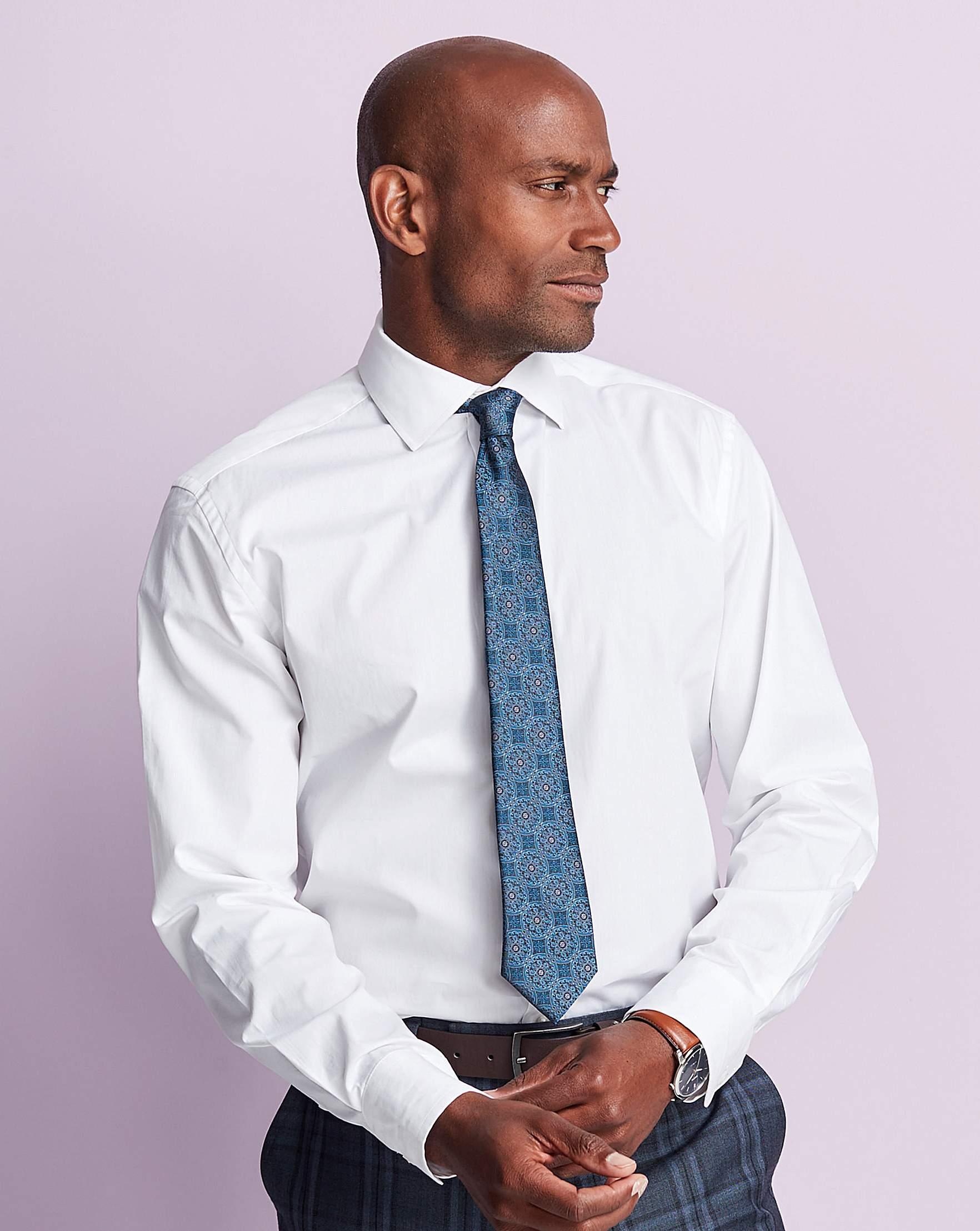 White Long Sleeve Cutaway Shirt Long Premier Man