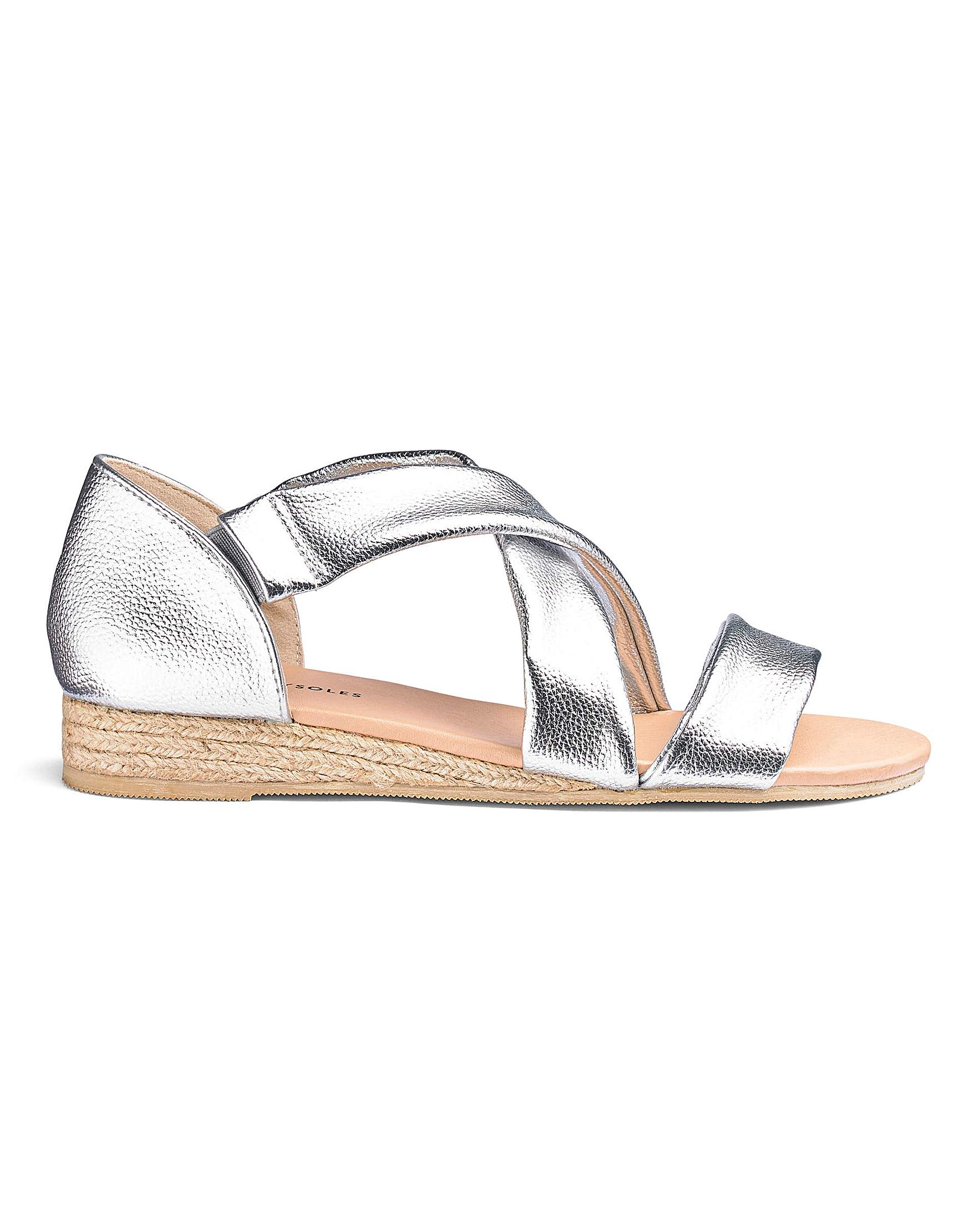 cba8ee400f0 Strappy Low Wedge Espadrille Sandals Wide E Fit