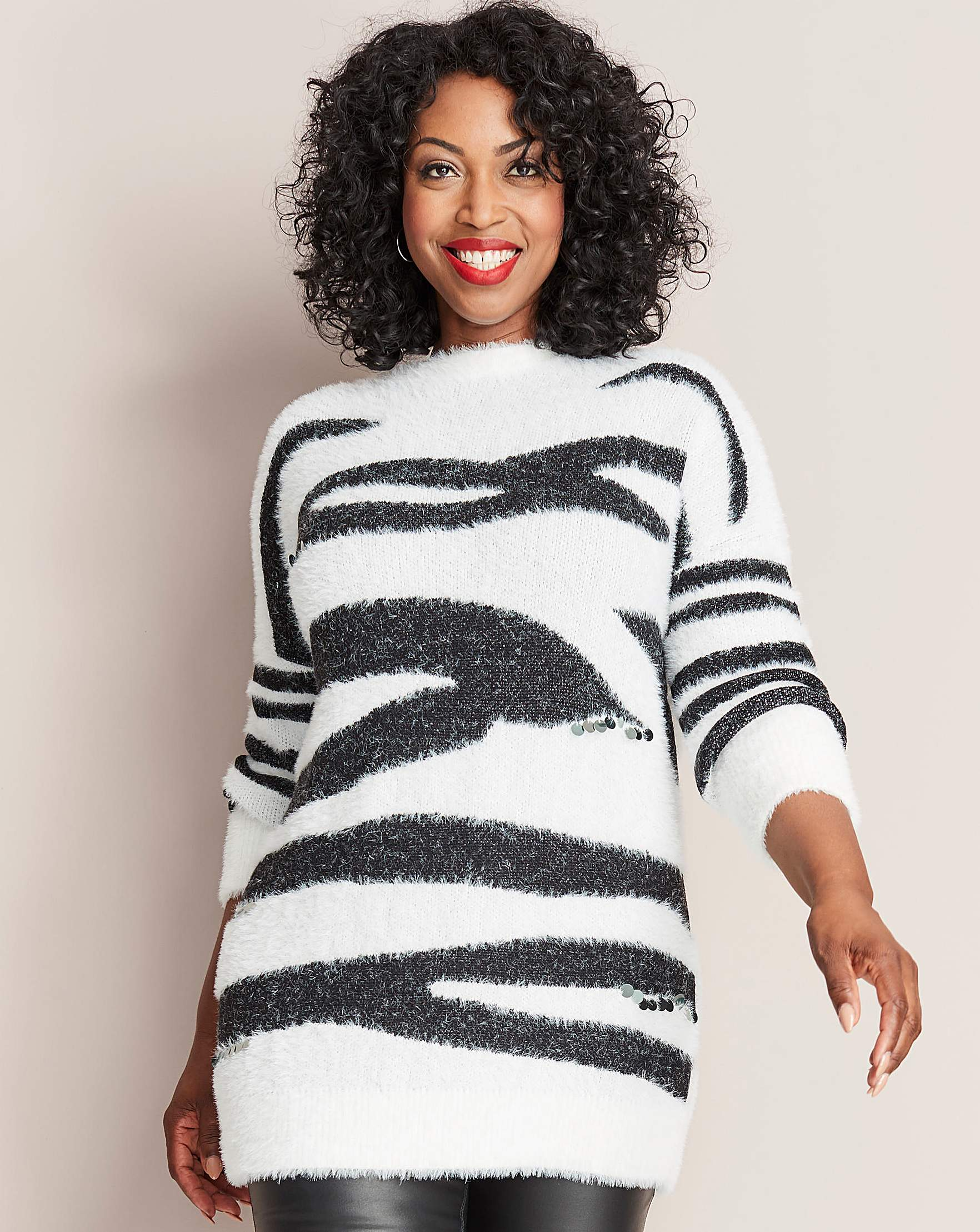b51b6dd4a1b Brushed Zebra Tunic with Sequin Detail