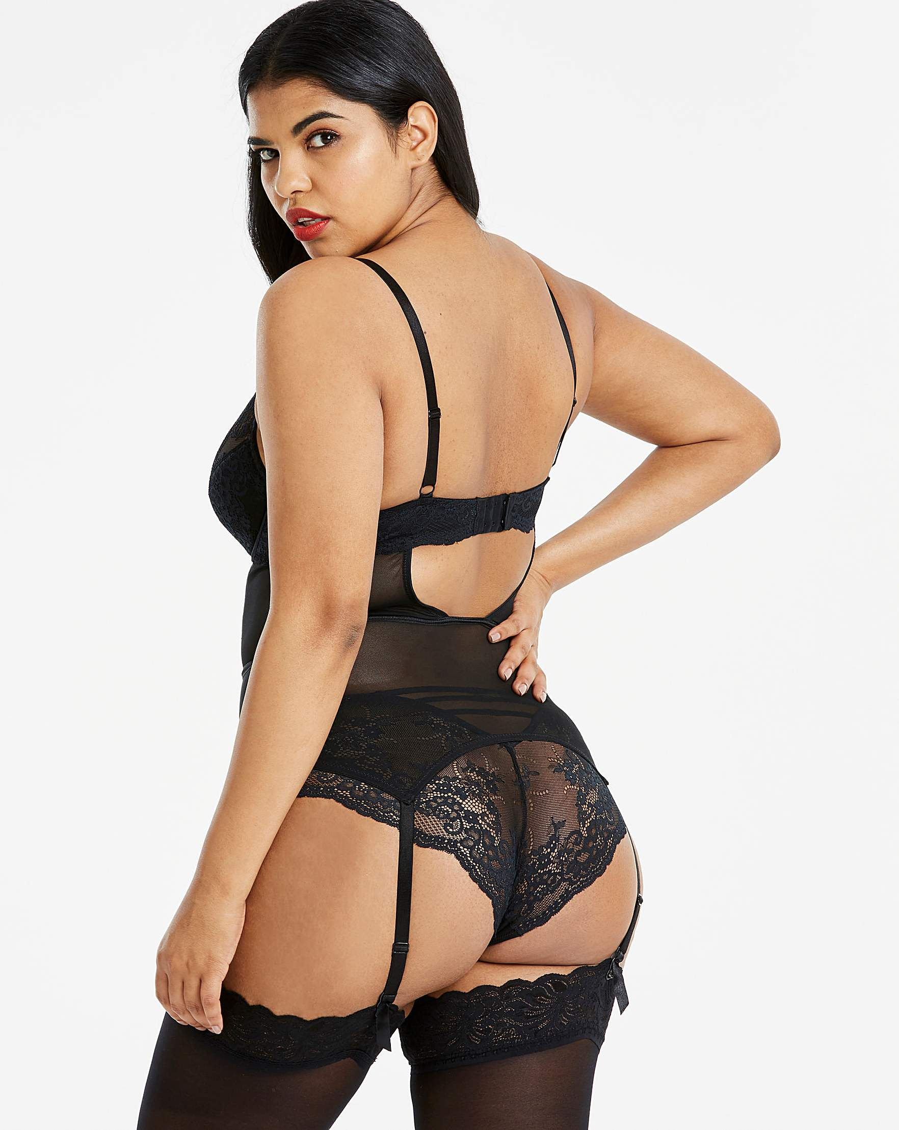 ce30bfc22f Simply Be Lauren Lace Suspender Slip