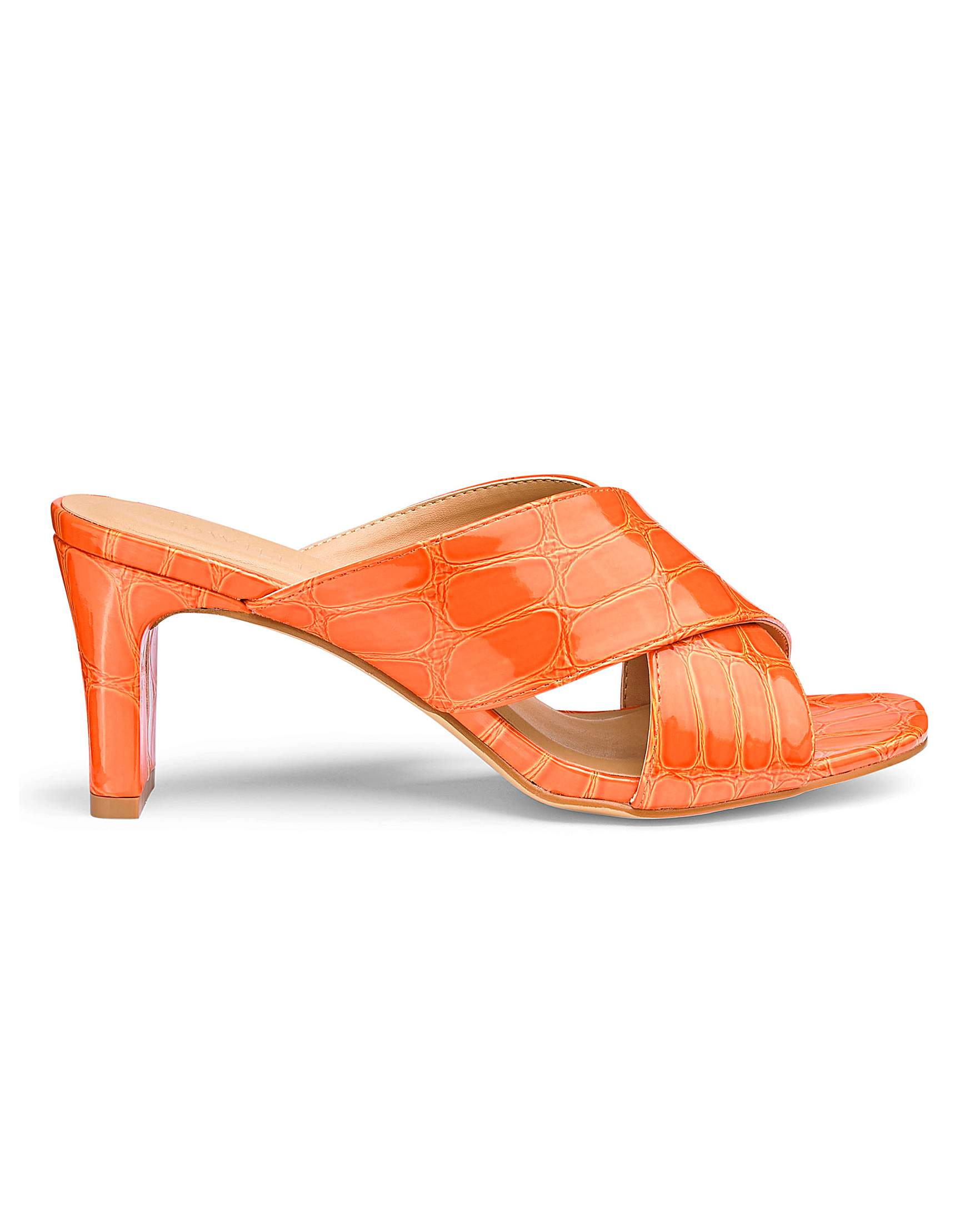 fa15889bfc6 Square Heel Crossover Mule Sandals Wide E Fit
