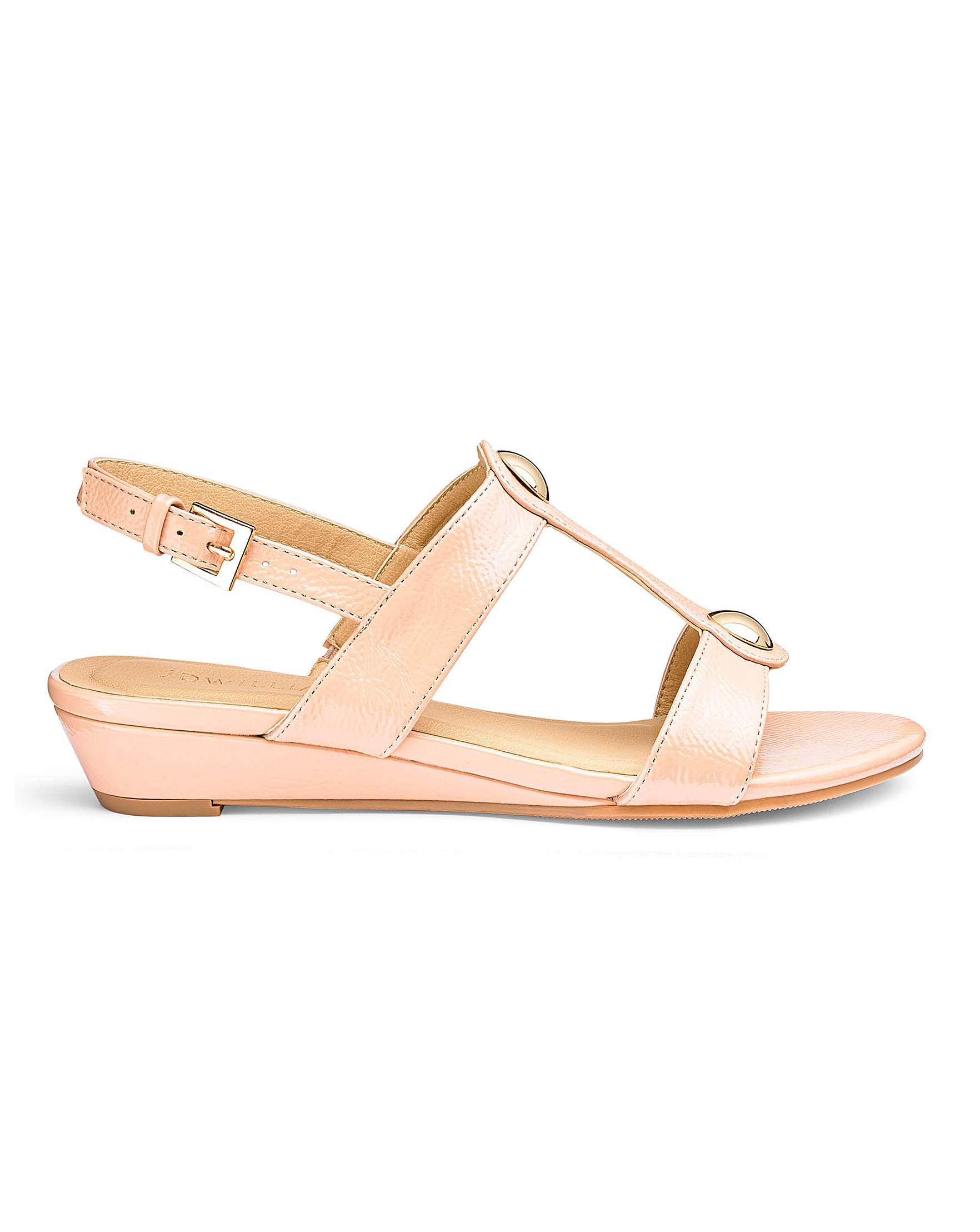 aa9ac50278a Low Wedge Patent Sandals E Fit