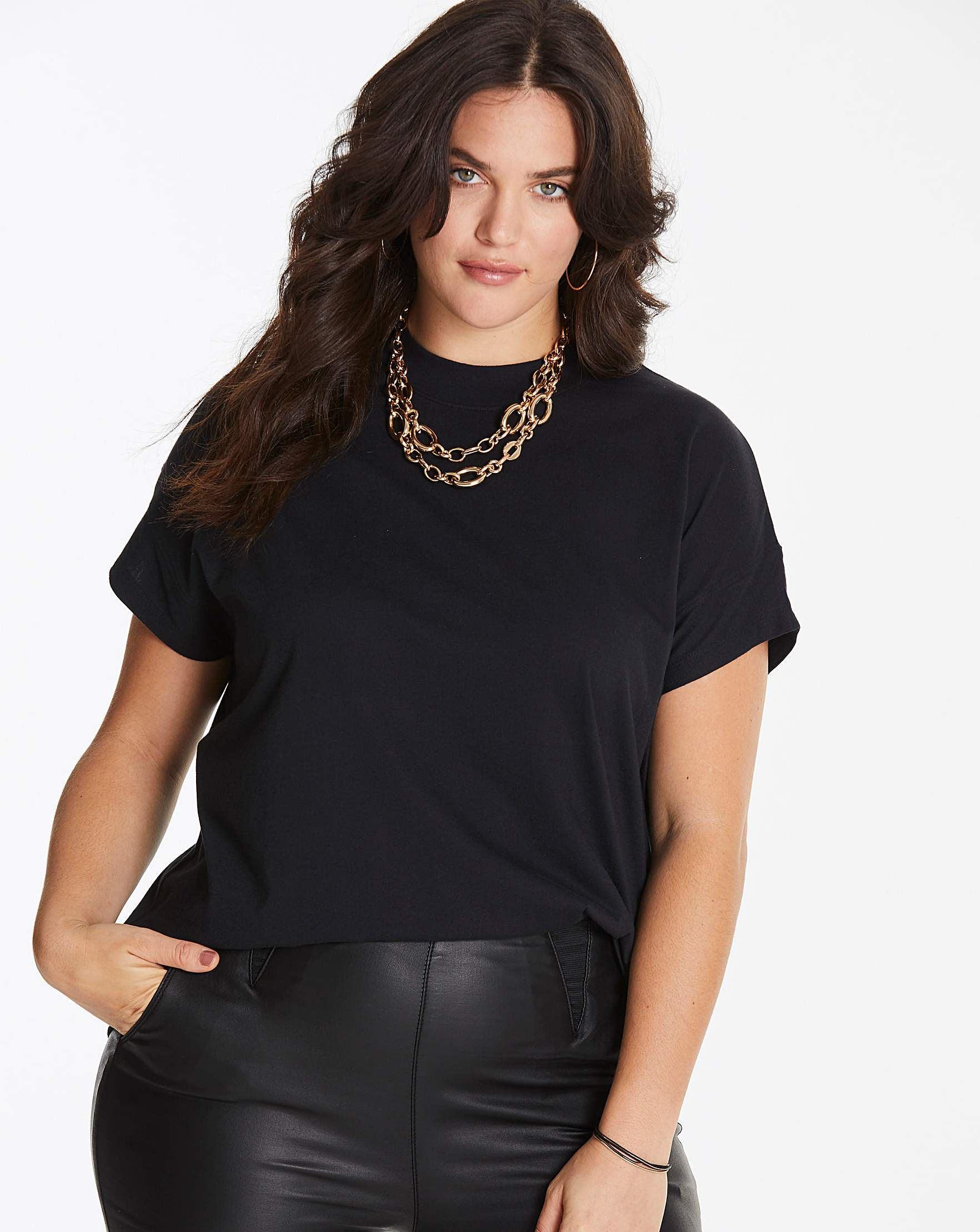 649005ae Black Simply Be High Neck Value T Shirt | Simply Be