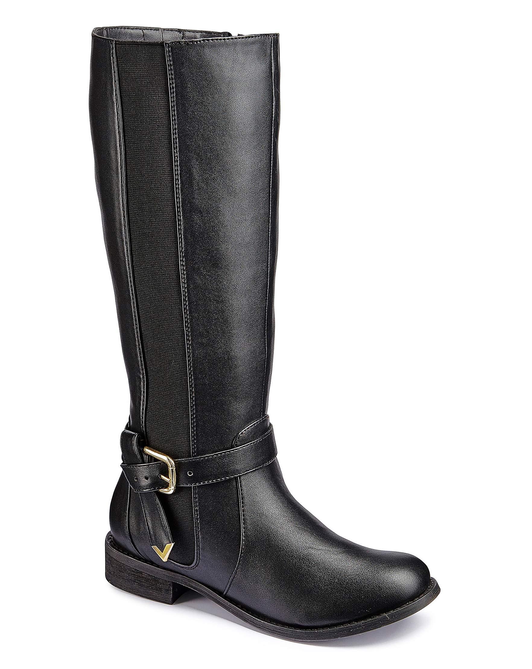 5edce19485b4 Legroom Elastic Detail Biker Style Boots E Fit Extra Curvy Plus Calf Width