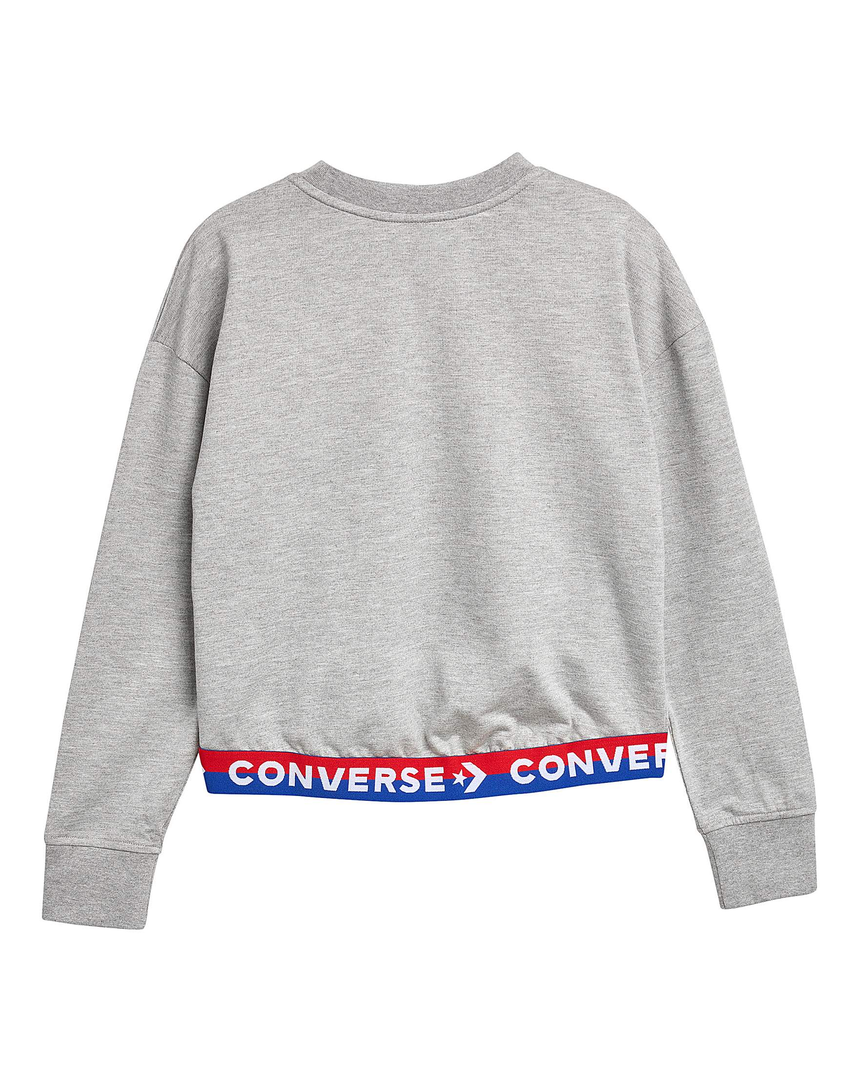 7e67747b0cee4 Converse Girls Grey Wordmark Crew Pullover