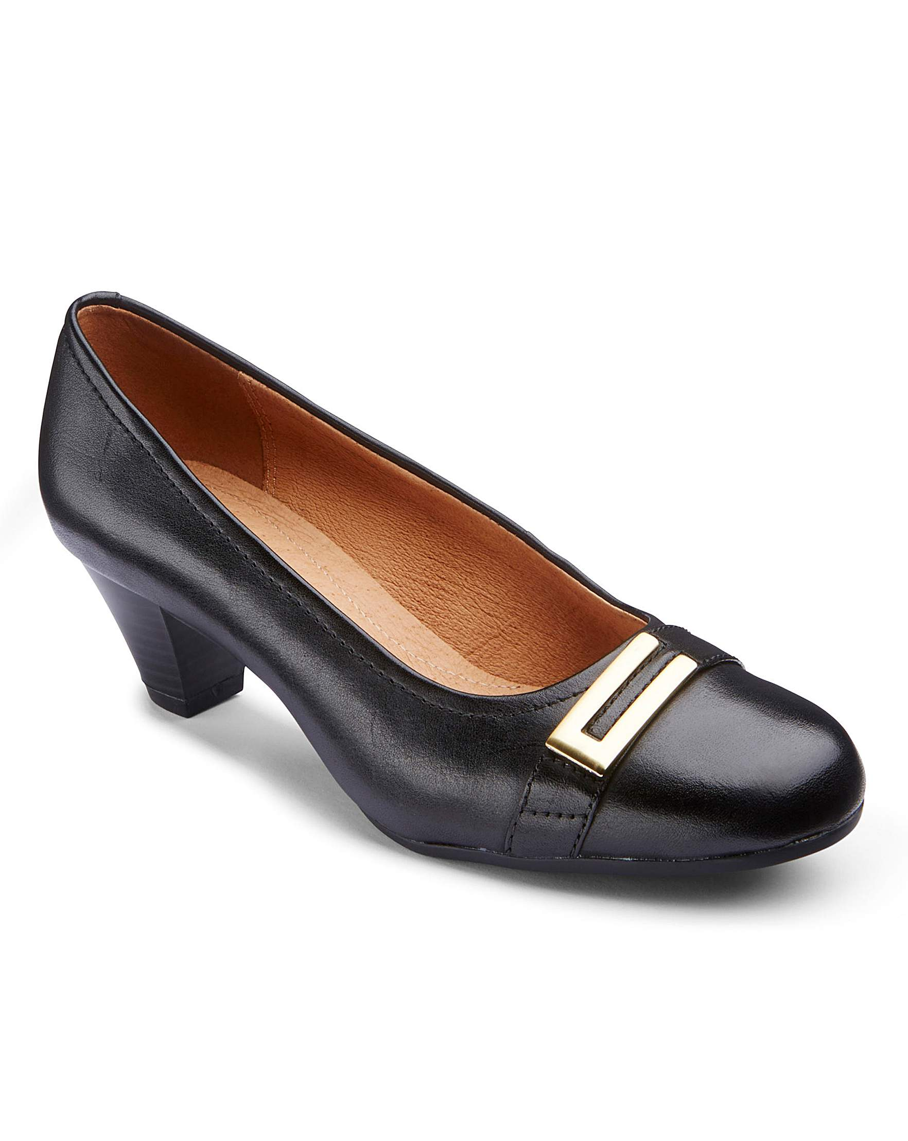 3c52a2d45f0 Clarks Fearne Shine Court Shoes with Trim Wide EE Fit