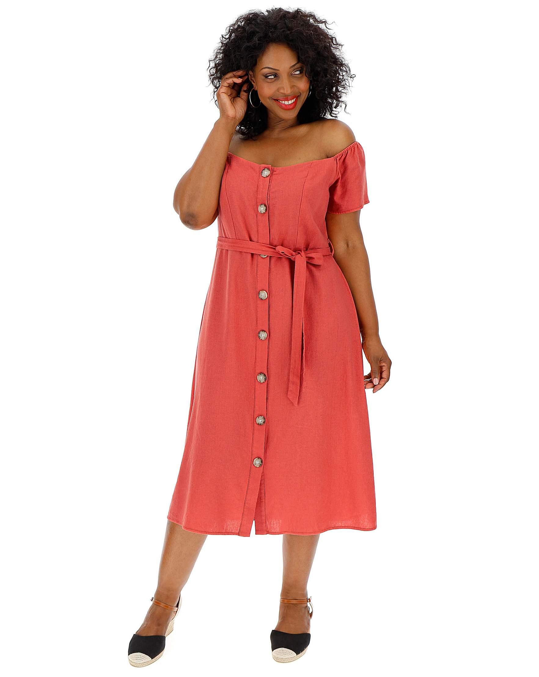 85979c6e948771 Linen Bardot Midi Dress   J D Williams