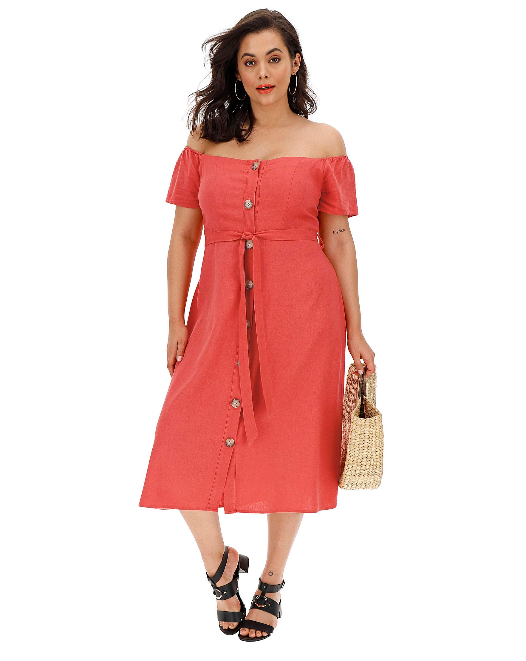 c7075c02a6b9b0 Linen Bardot Midi Dress   Simply Be