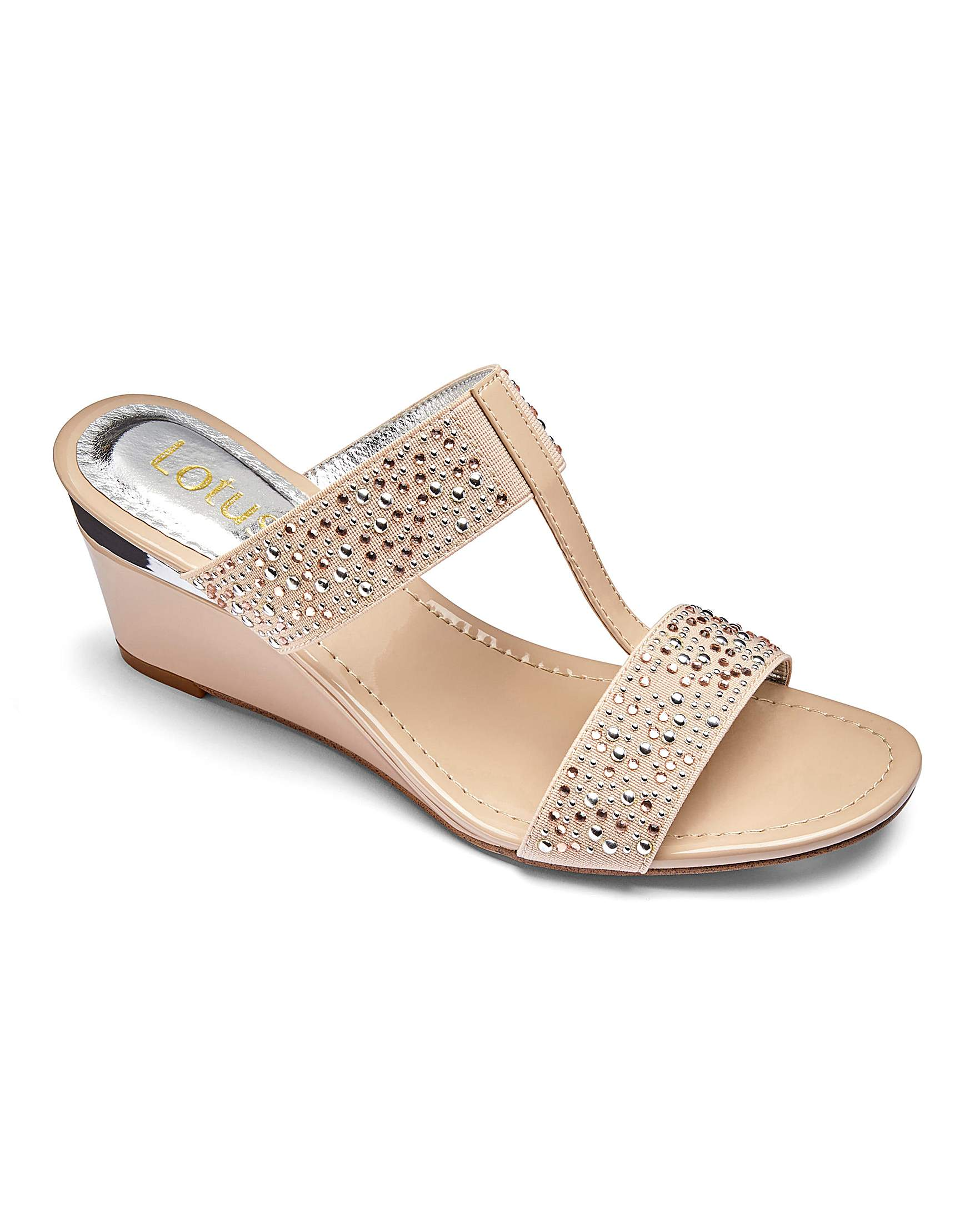 718a9324acd Lotus Wedge Diamante Wedge Mule Sandals Wide E Fit