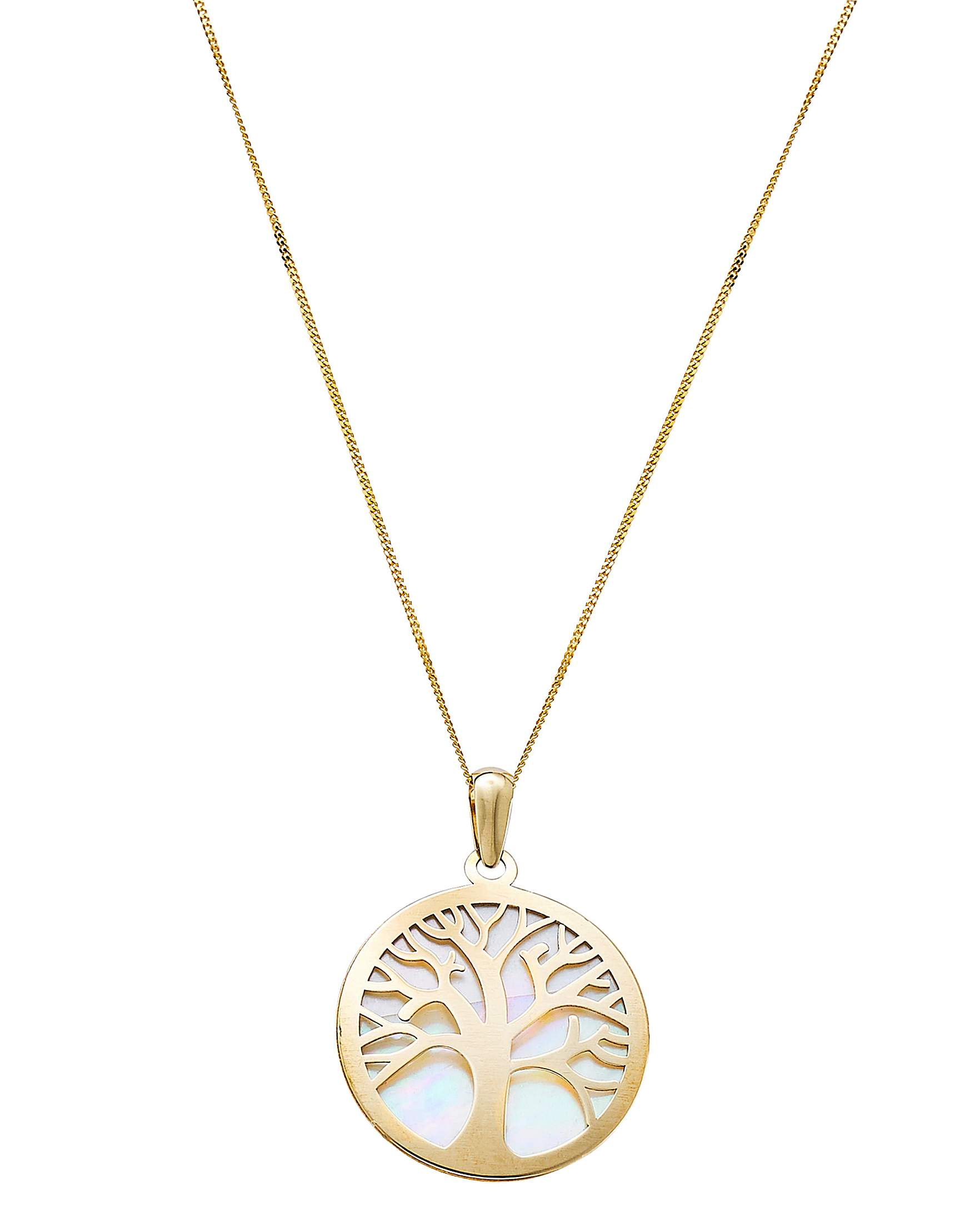 49cb087b92d 9 Carat Gold & Mother of Pearl Tree of Life Pendant
