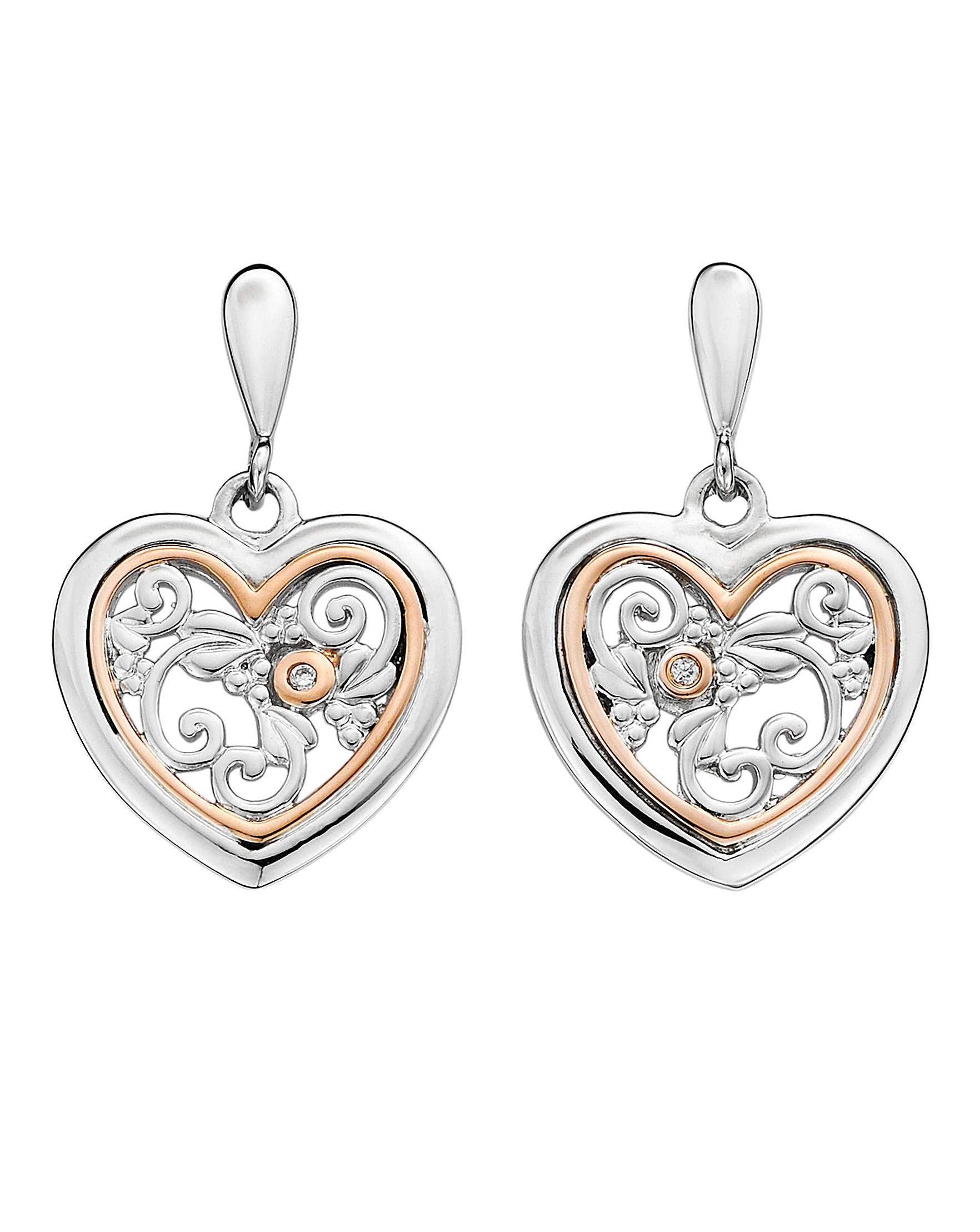 Clogau  Tree of Life  Sterling Silver and 9ct Rose Gold One Diamond Earrings 306dcb21d