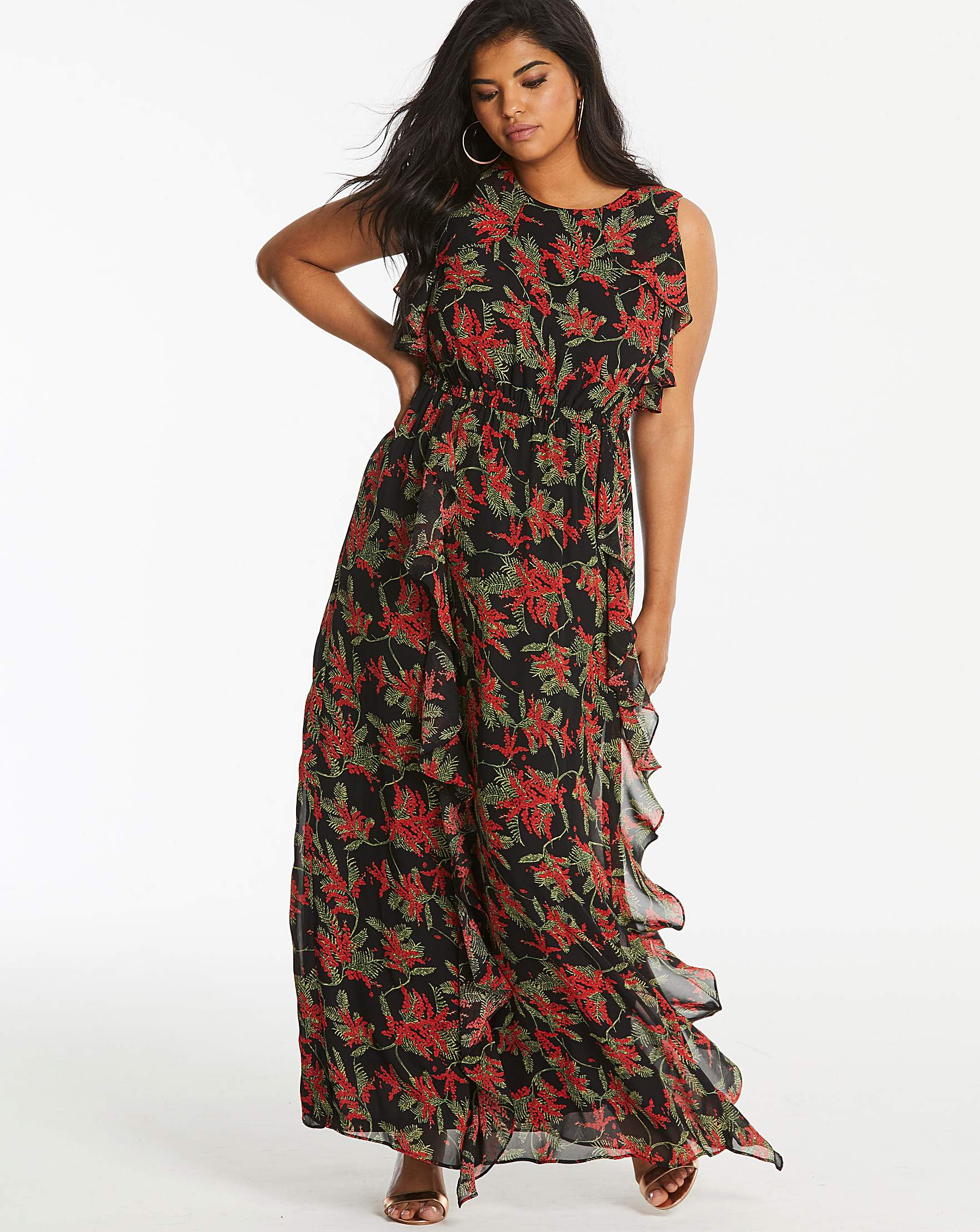 6137d266458d0 Lovedrobe Frill Maxi Dress