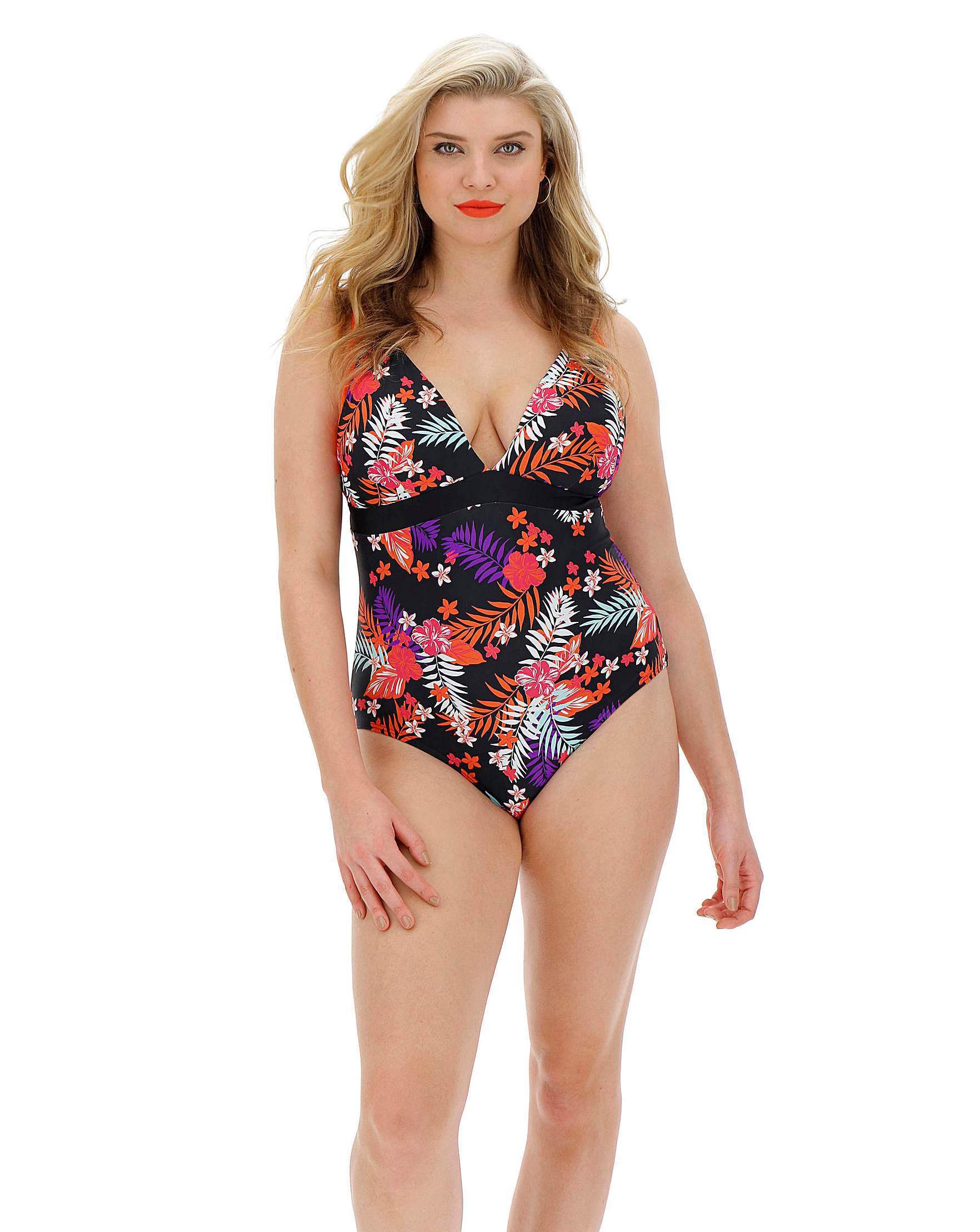 a4116f1f070b0 Tropical Print Plunge Mix and Match Swimsuit