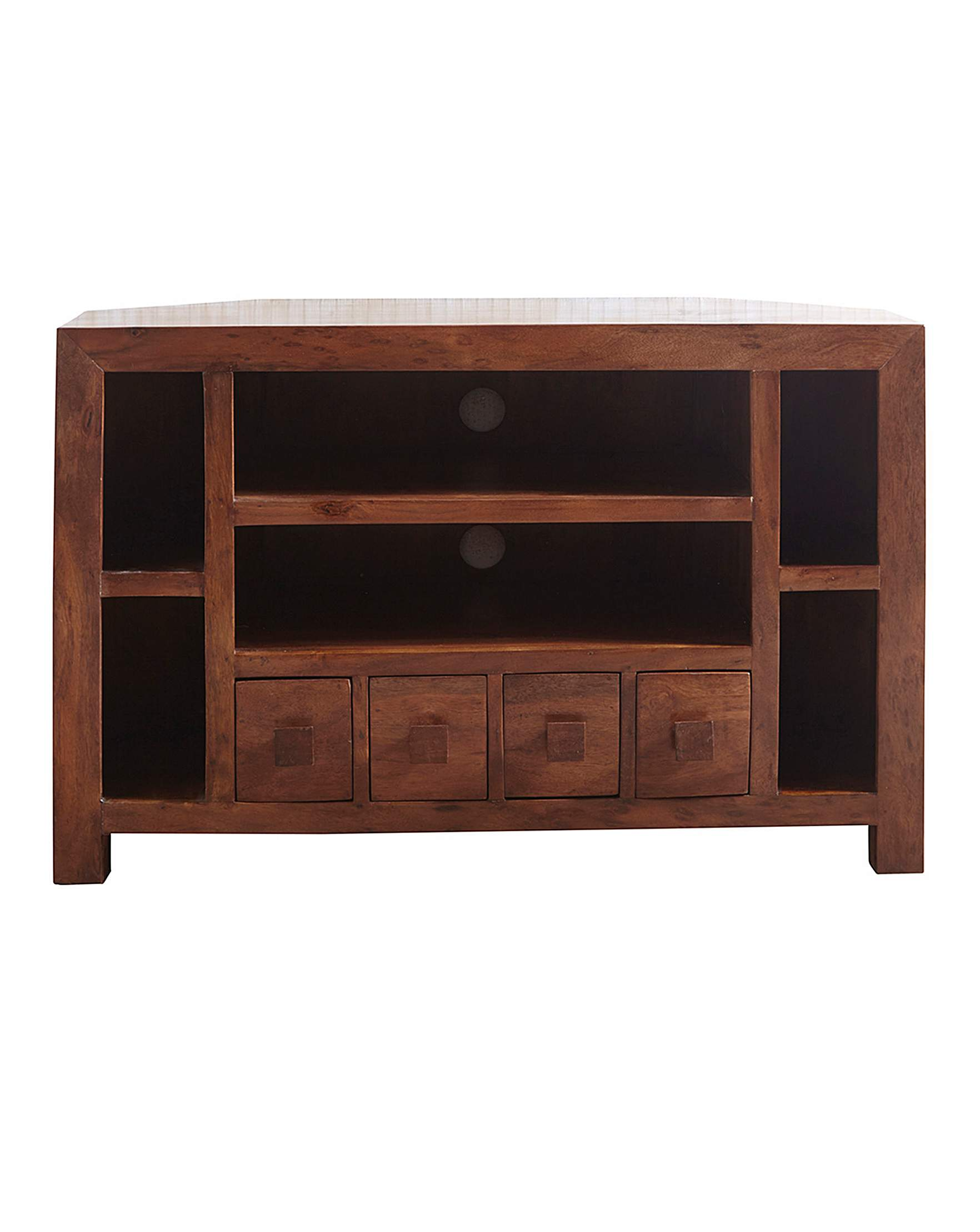 Java ready acacia wood corner tv unit house of bath
