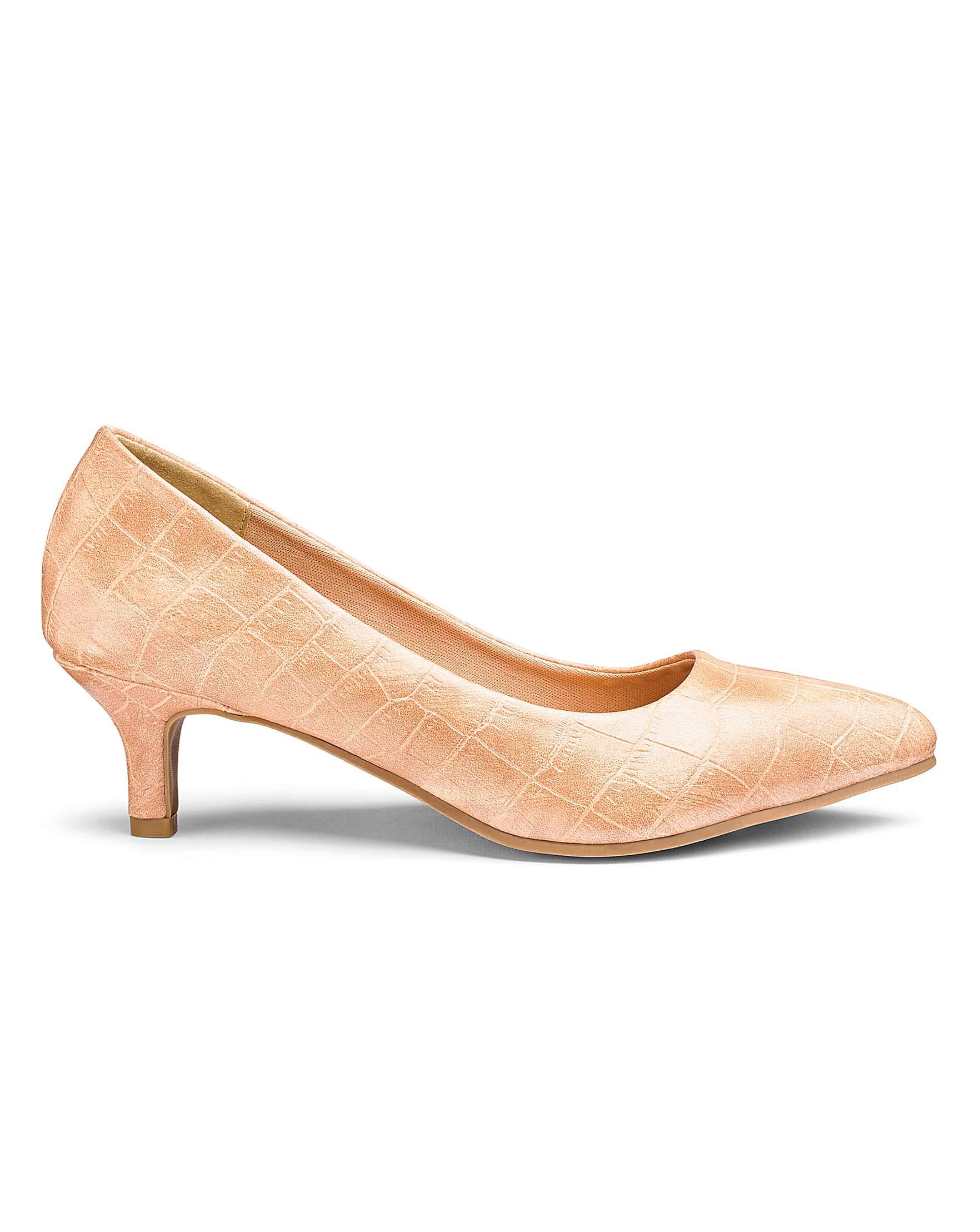 35b4f9db99b Slip On Kitten Heel Court Shoes Extra Wide EEE Fit