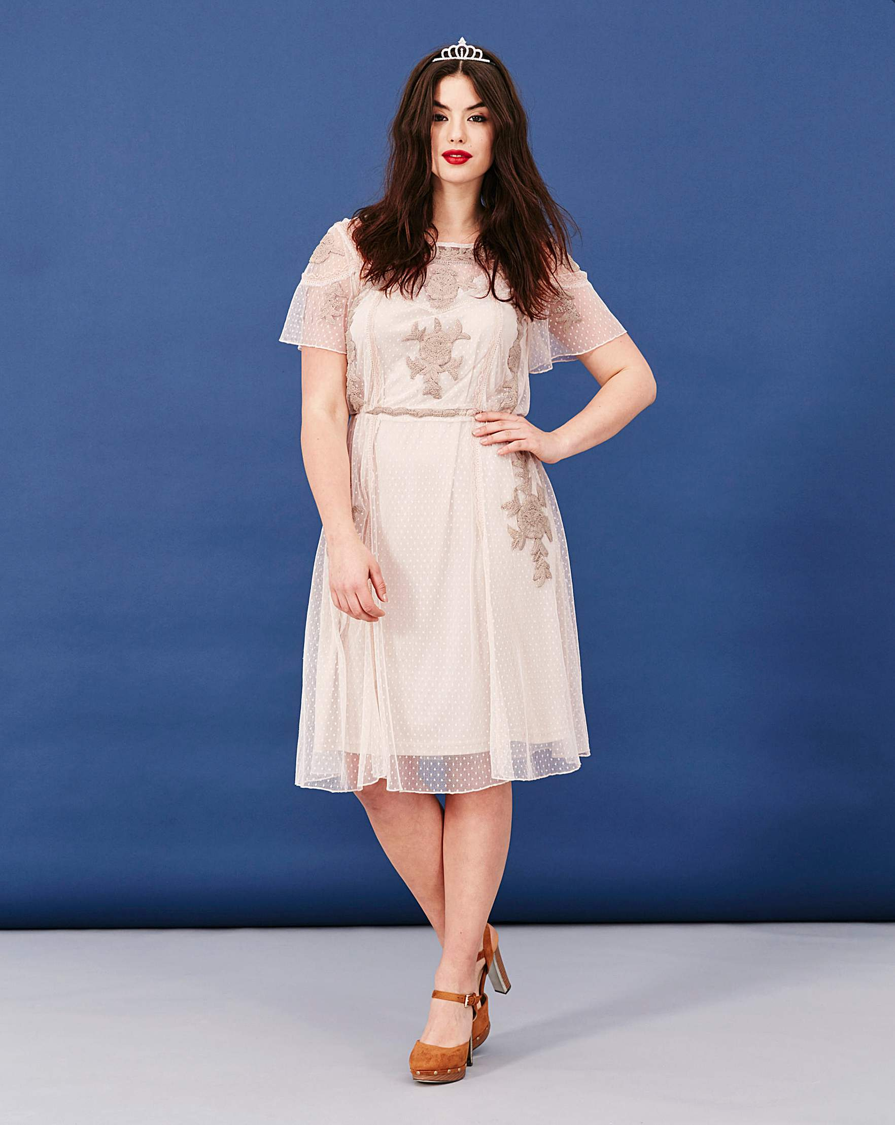 c785967fa640 Simply Be Short Sleeve Embroidered Dress | Simply Be