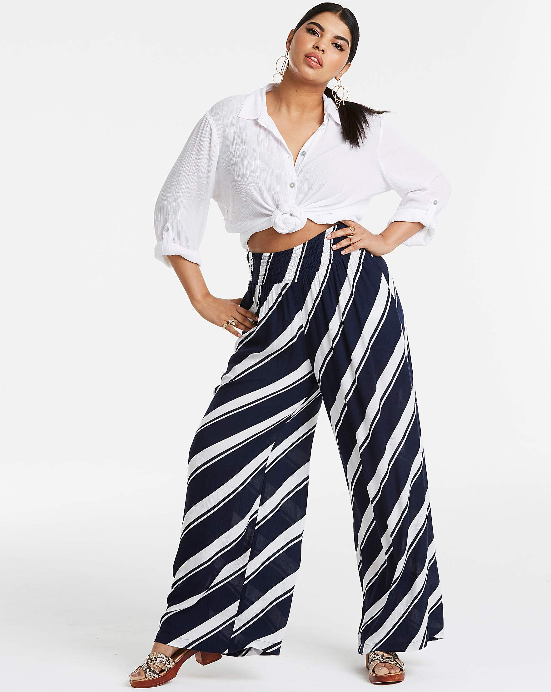 ddf0a9eac4 Stripe Crinkle Shirred Waist Wide Trs | Simply Be