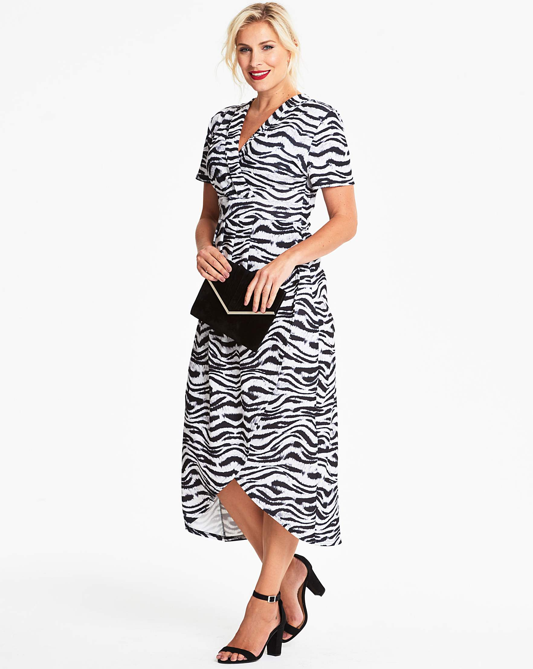ea6ead3279 Quiz Curve Zebra Animal Print Wrap Dress