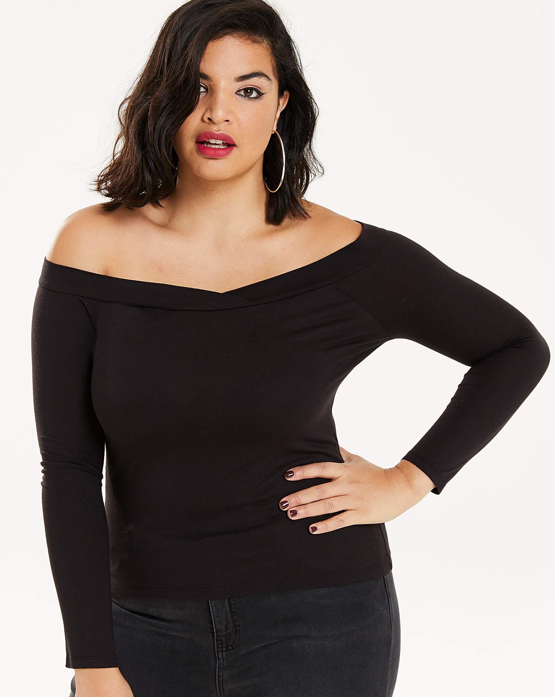 353bc269472 Black Long Sleeve Bardot Top | Simply Be