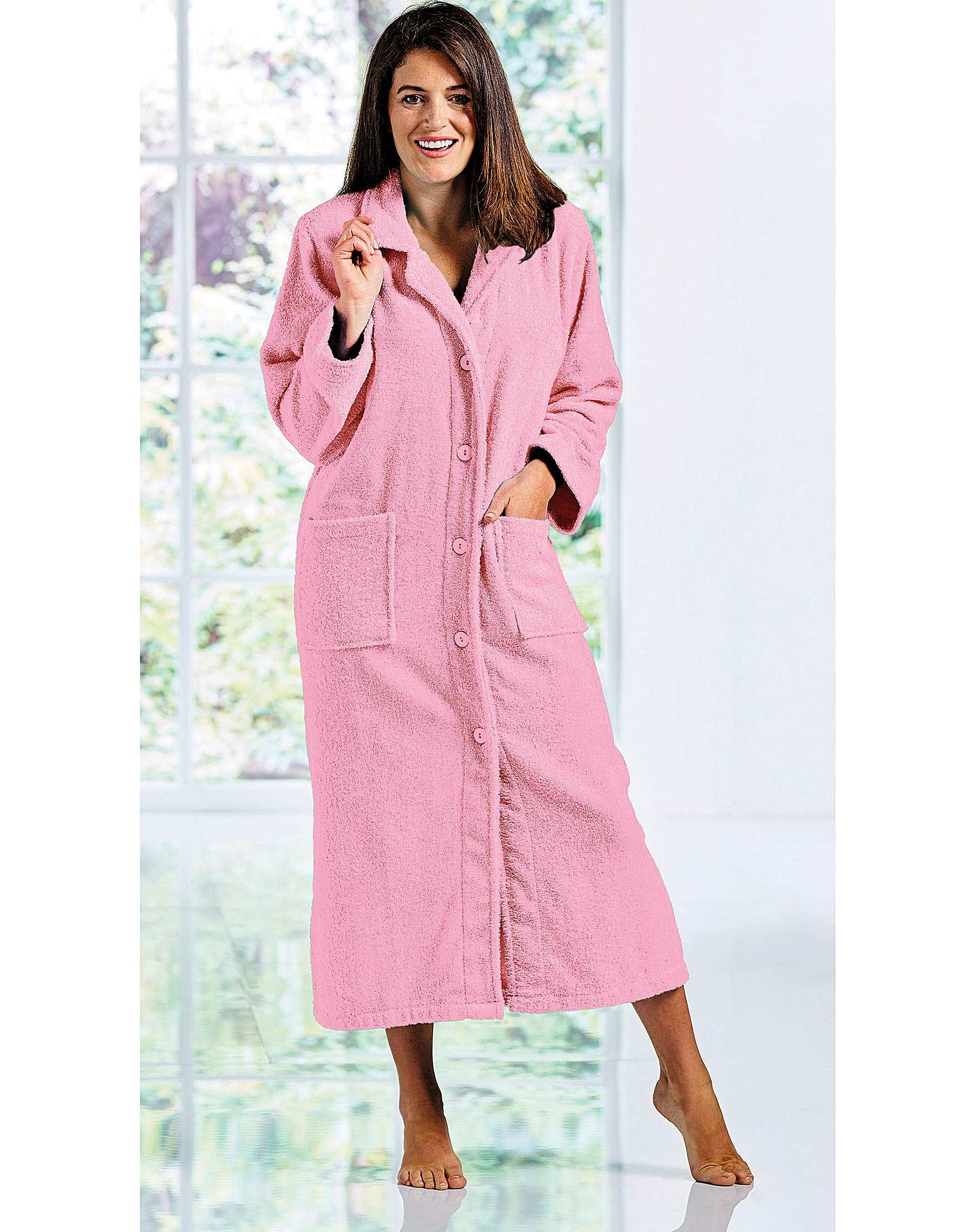 100% Cotton Button Towelling Robe 50 In | House of Bath