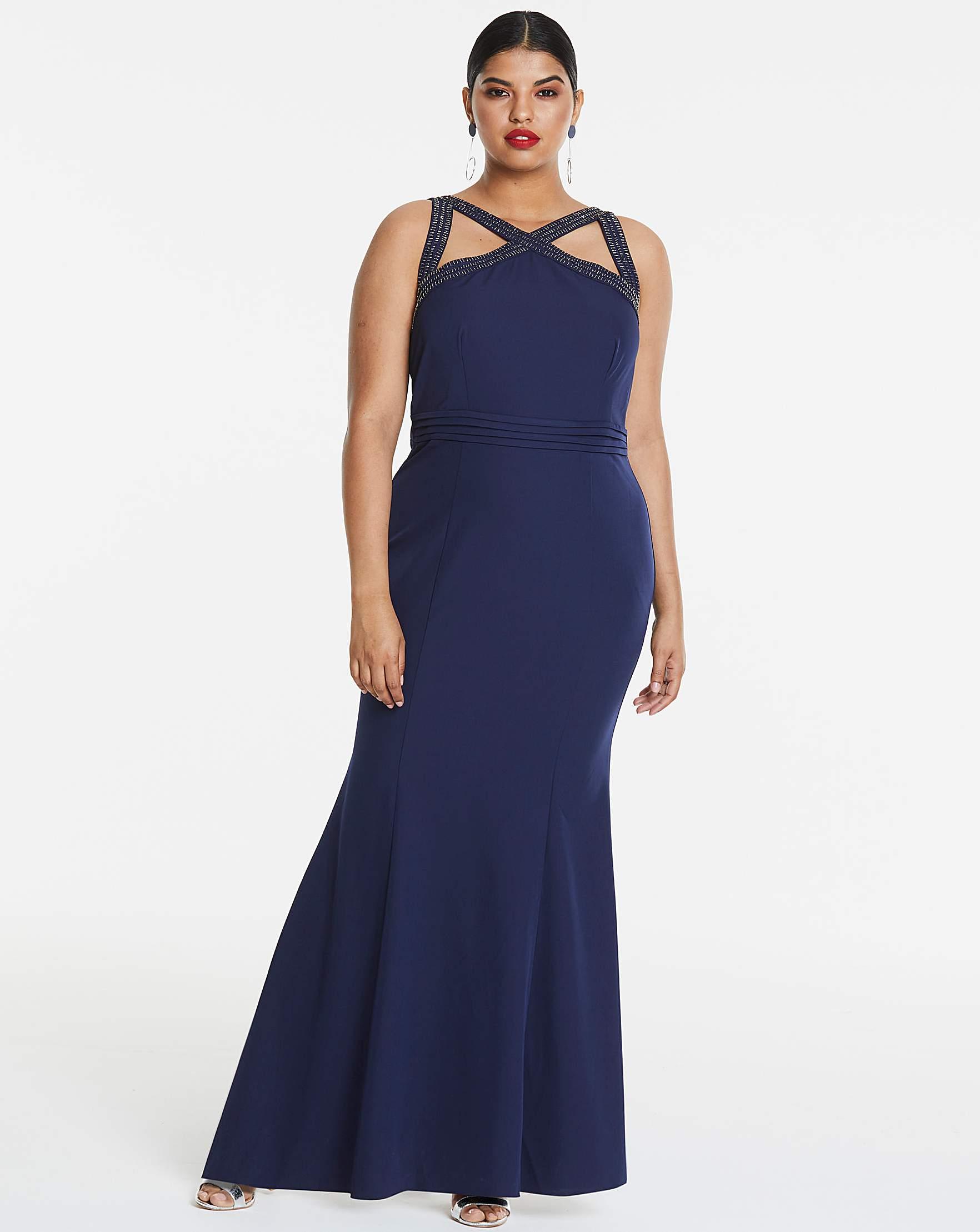 Little Mistress Navy Maxi Dress  19eab7739