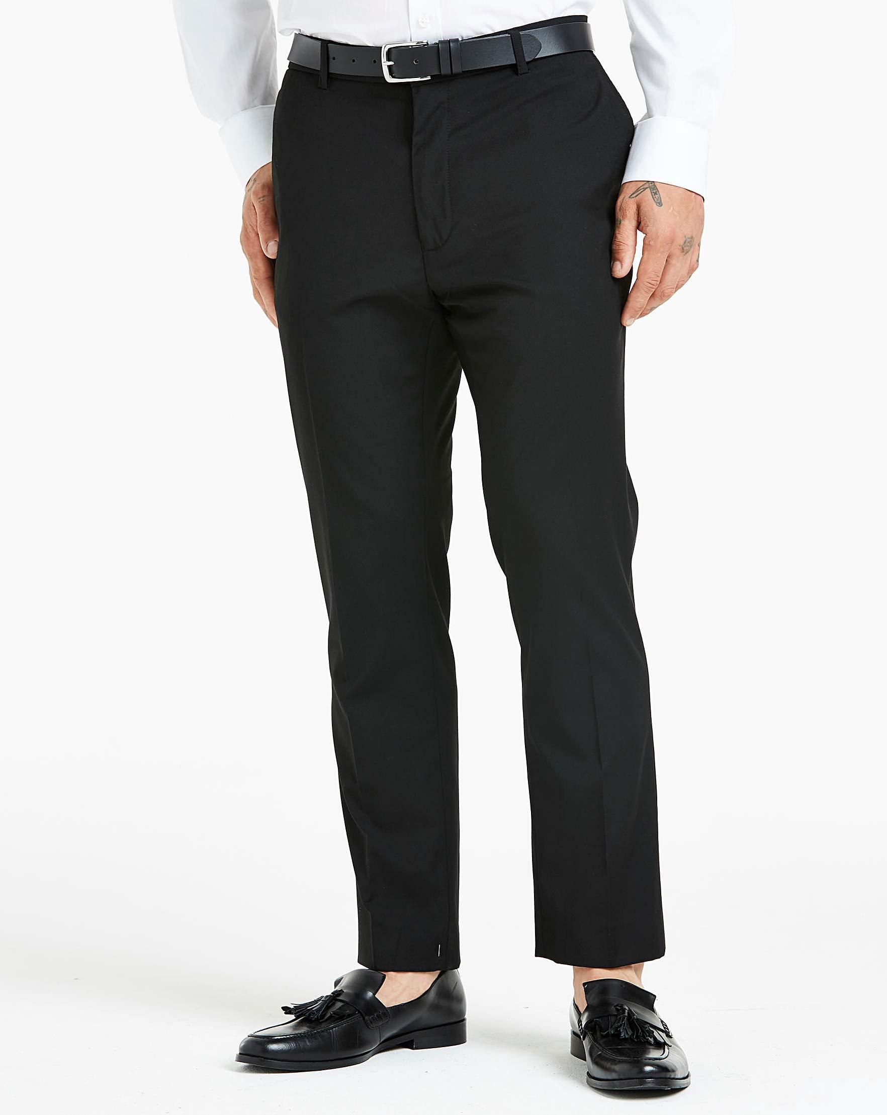 26900d1f Black Plain Front Slim Fit Stretch Trousers
