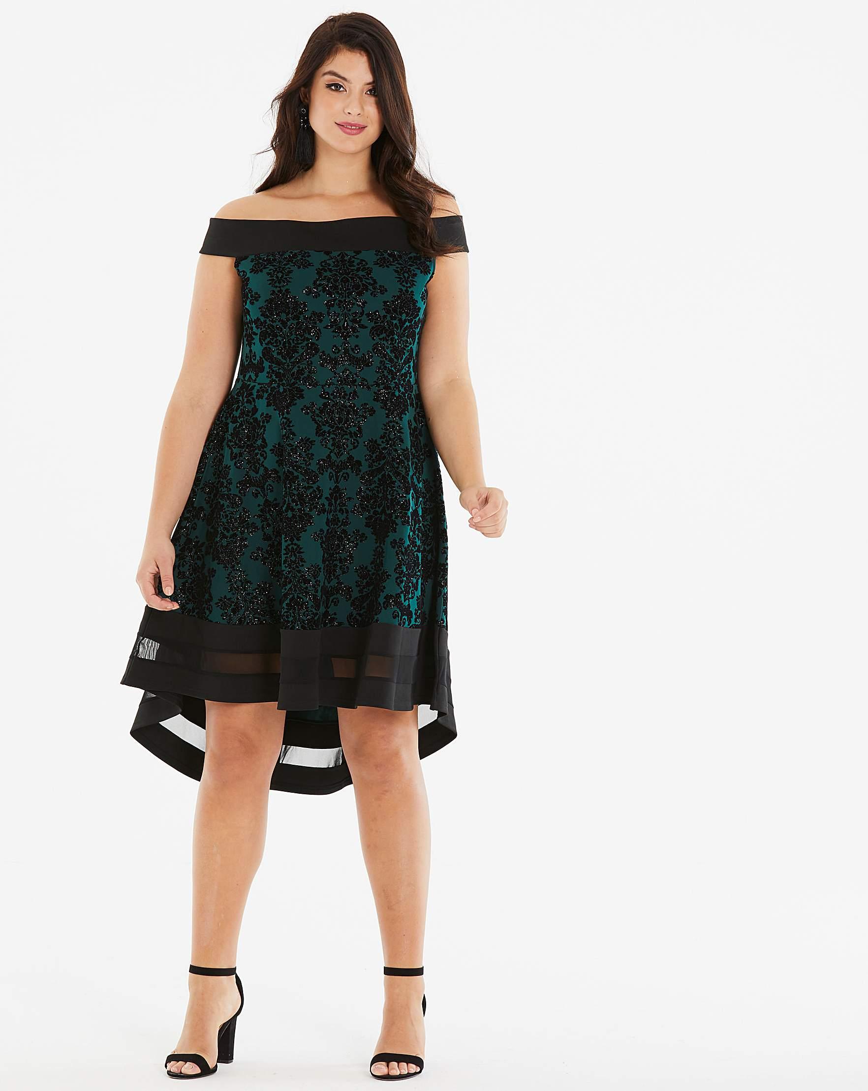 NEW QUIZ Navy Aqua And Red Floral Print Bardot Dress STUNNING 10 12 14