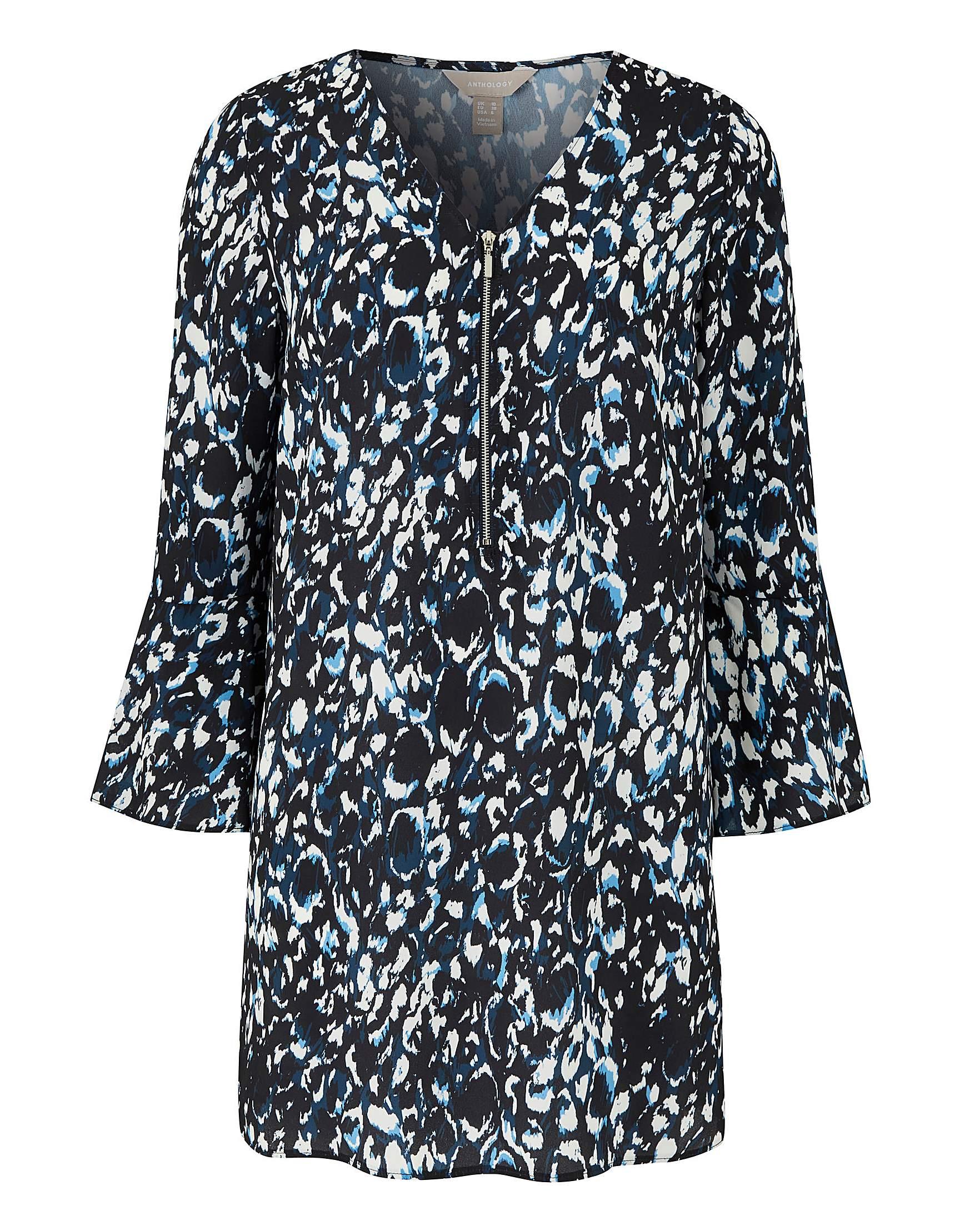 a15c0287f6f0 Blue Animal Print Zip Front Blouse | Fashion World