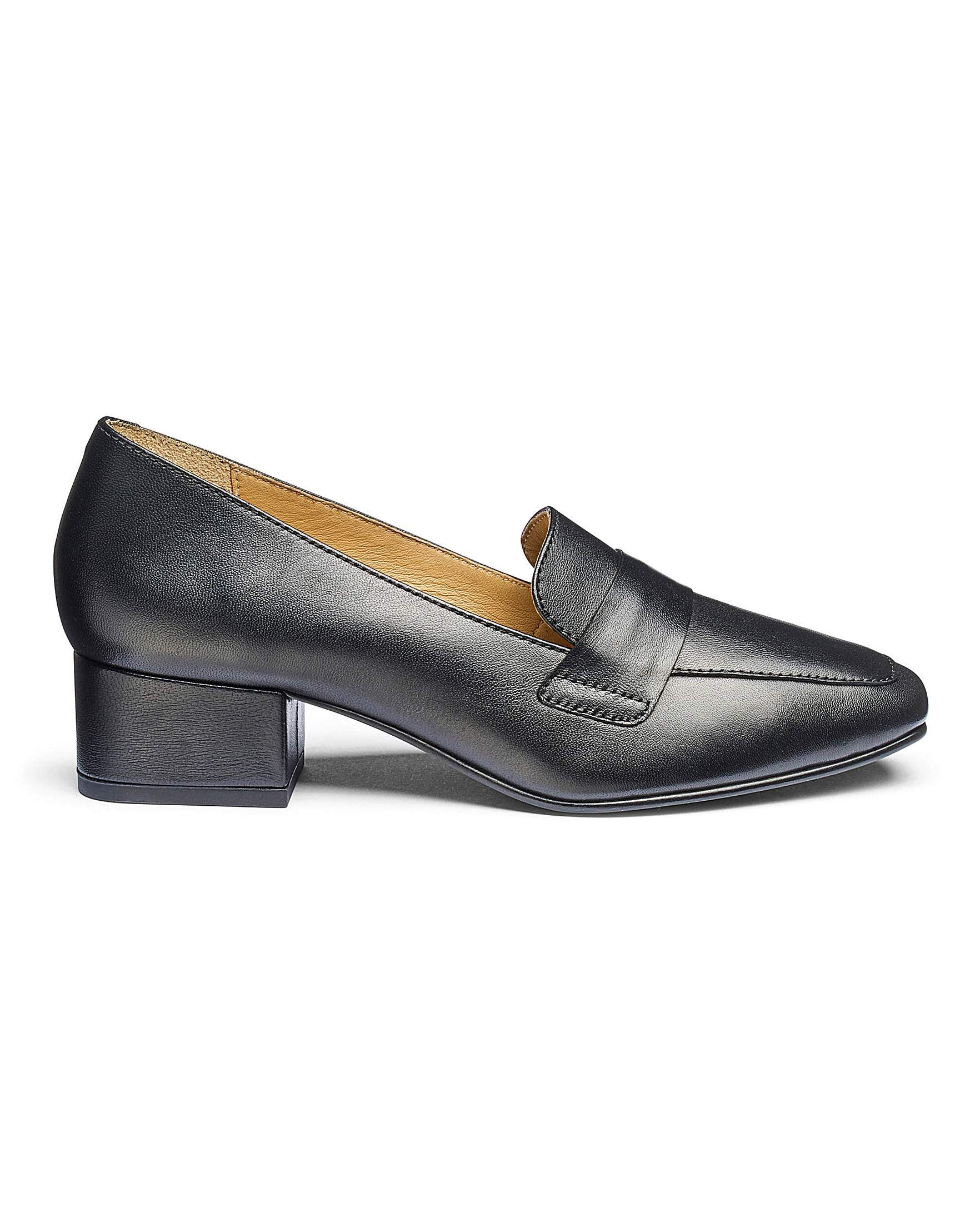 755b4963b449 Leather Block Heel Loafers E Fit | J D Williams