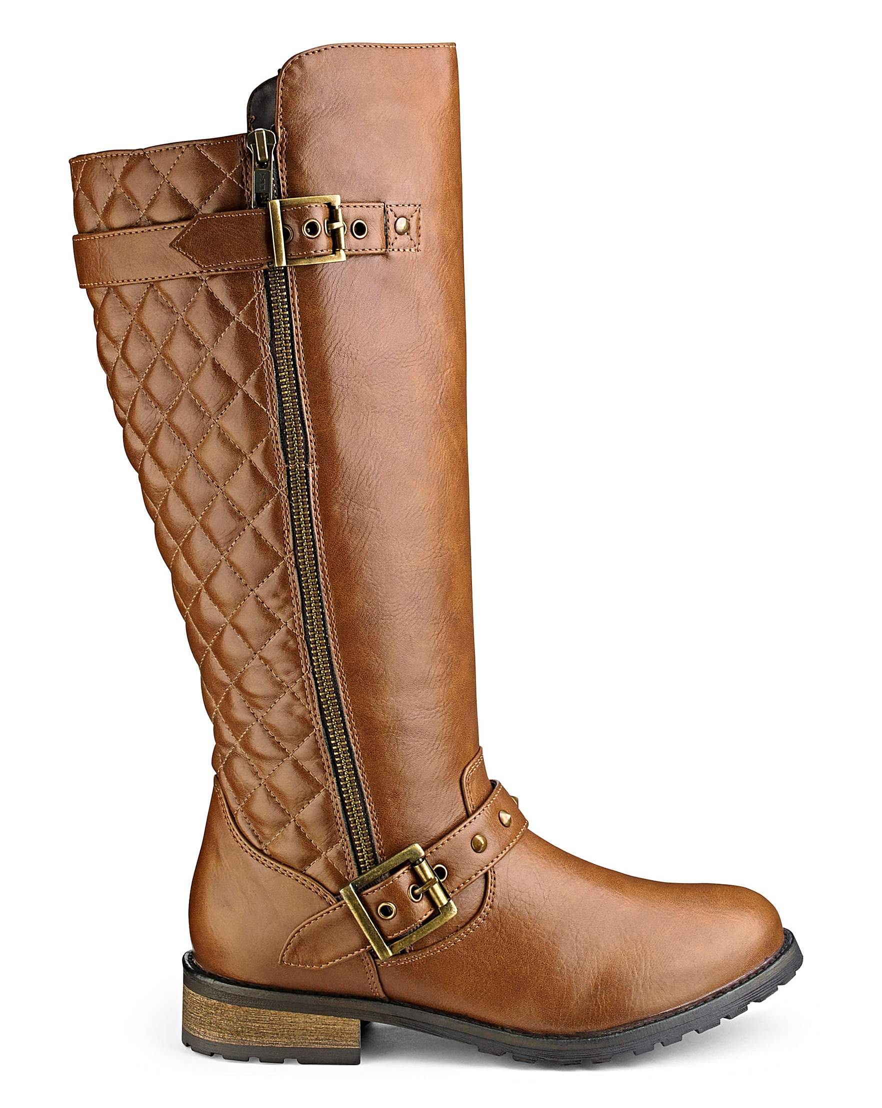 853e04ac8095 Sole Diva Quilted High Leg Boots Curvy Plus Extra Wide EEE Fit