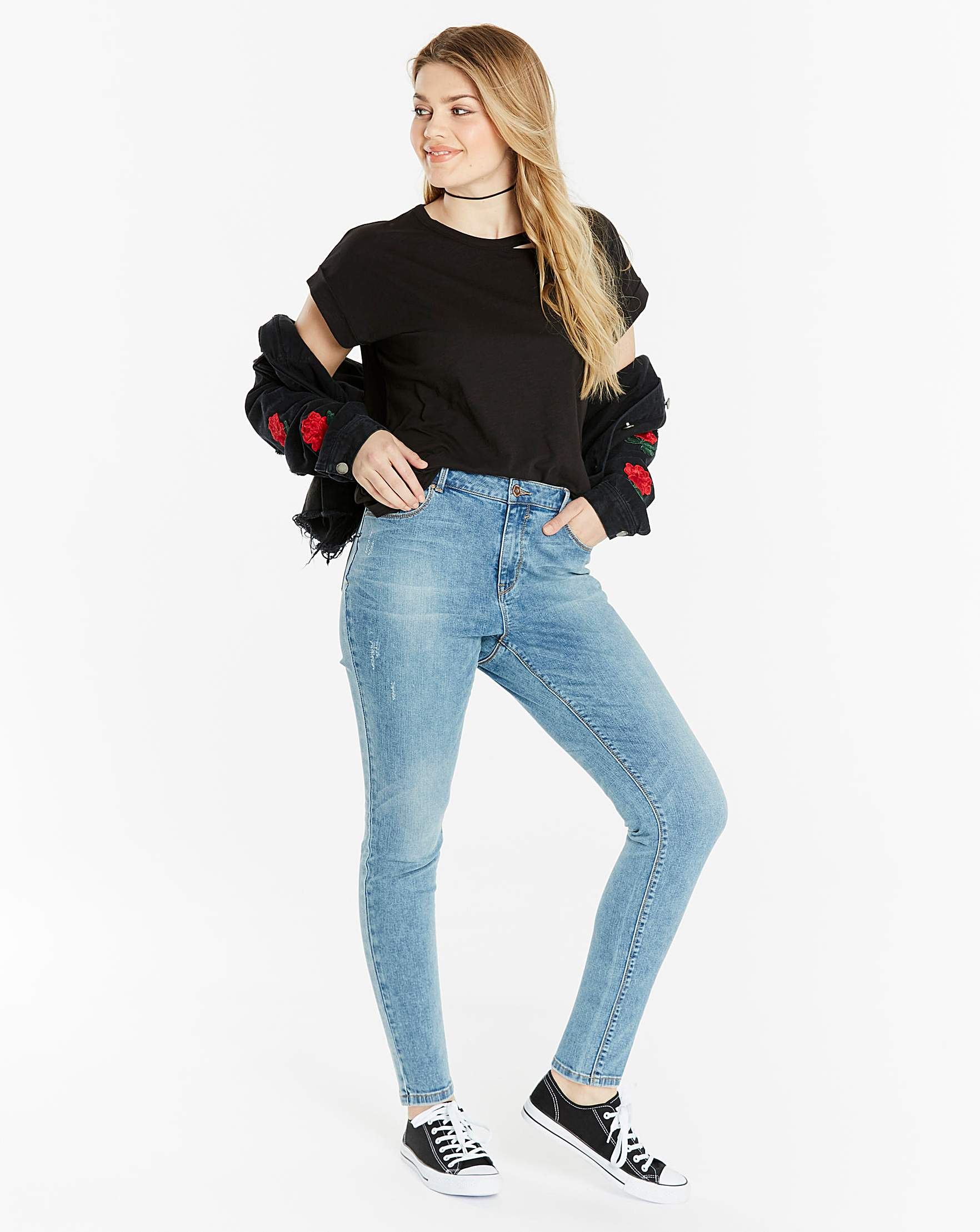 Chloe Skinny Jeans Short Simply Be Vintage Skin Rip Off Stretch Soft
