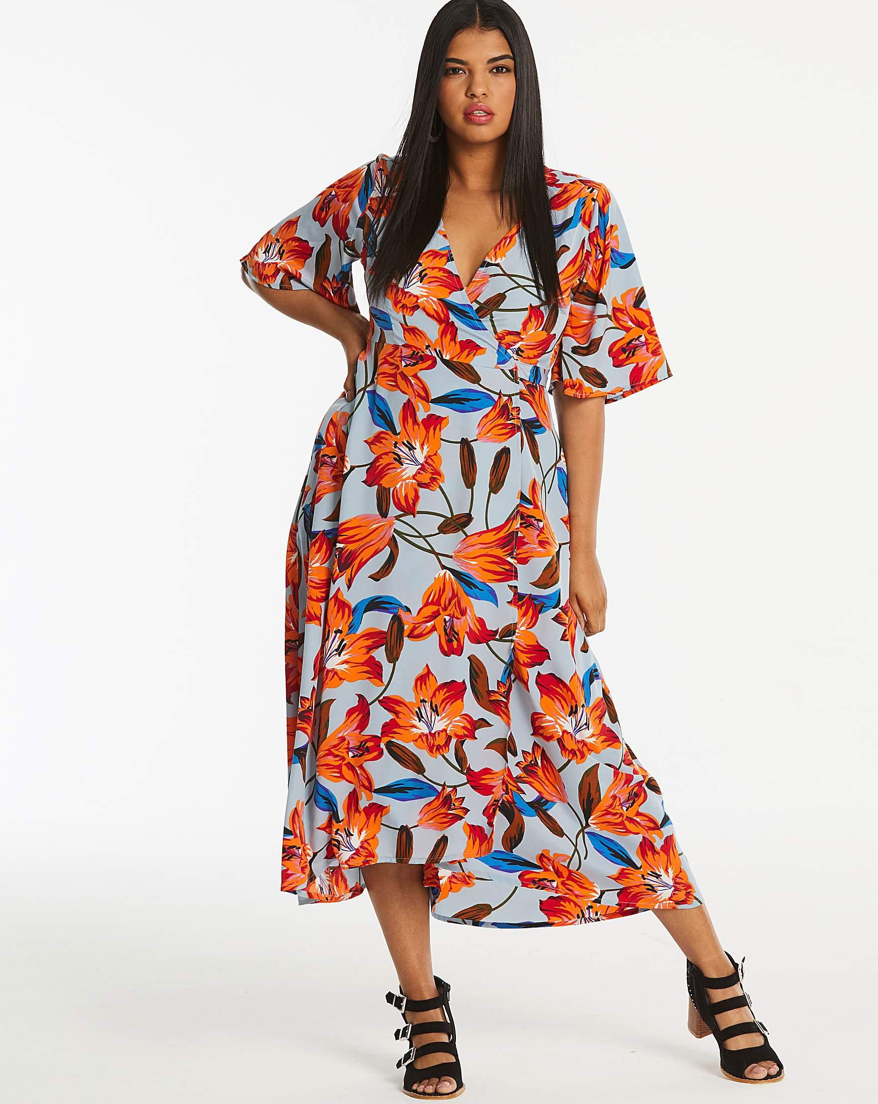 4aae49355173 Neon Rose Floral Wrap Midi Dress | Simply Be