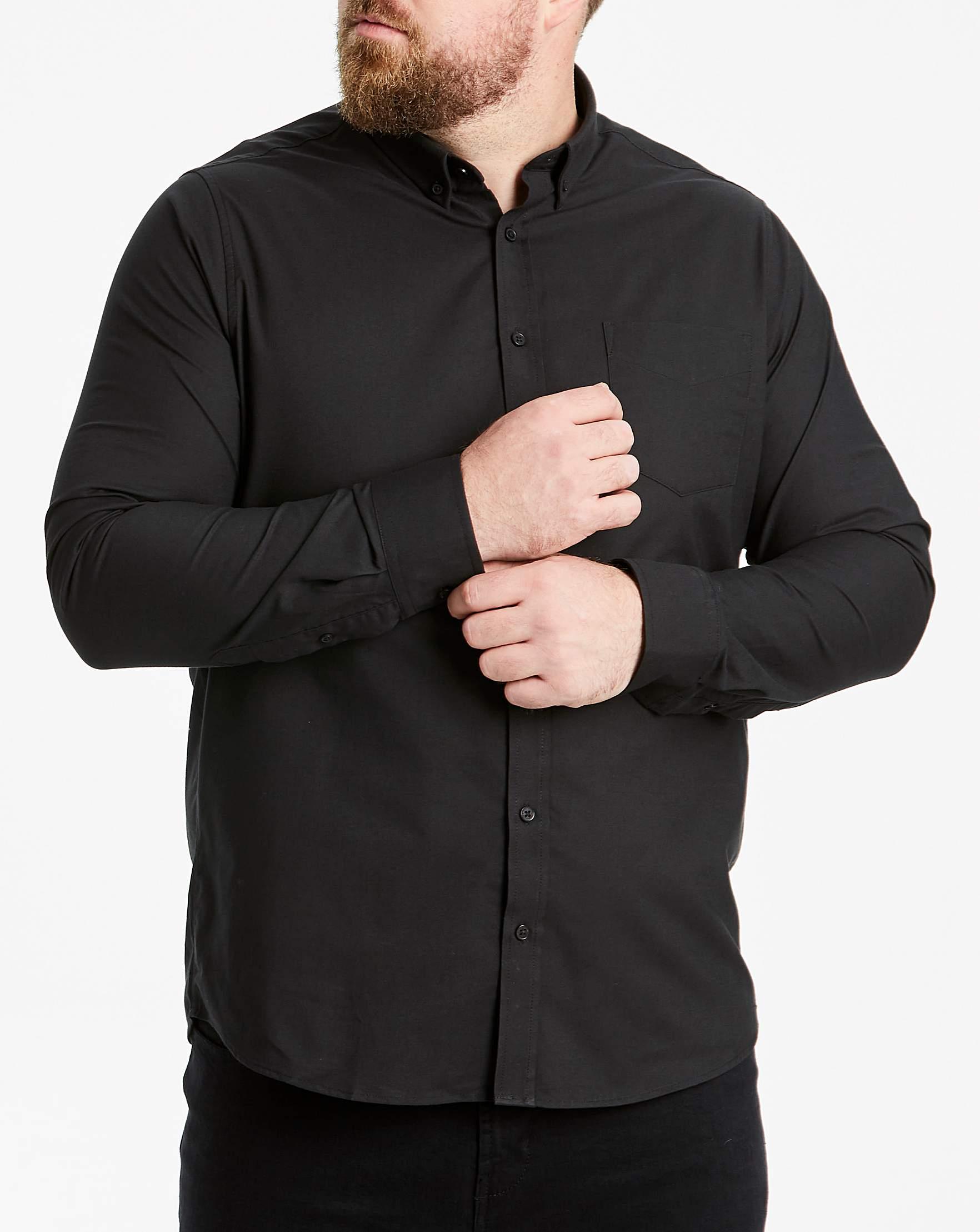 19e98213a94 Black Long Sleeve Oxford Shirt Long   Jacamo