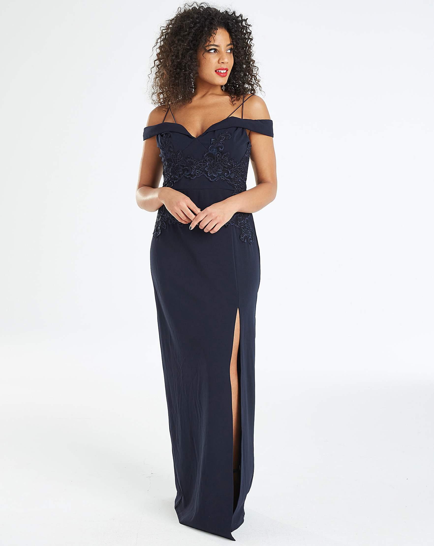818afff4a5 Ax Paris Grey Long Sleeve Maxi Dress With Lace Top | Huston Fislar ...