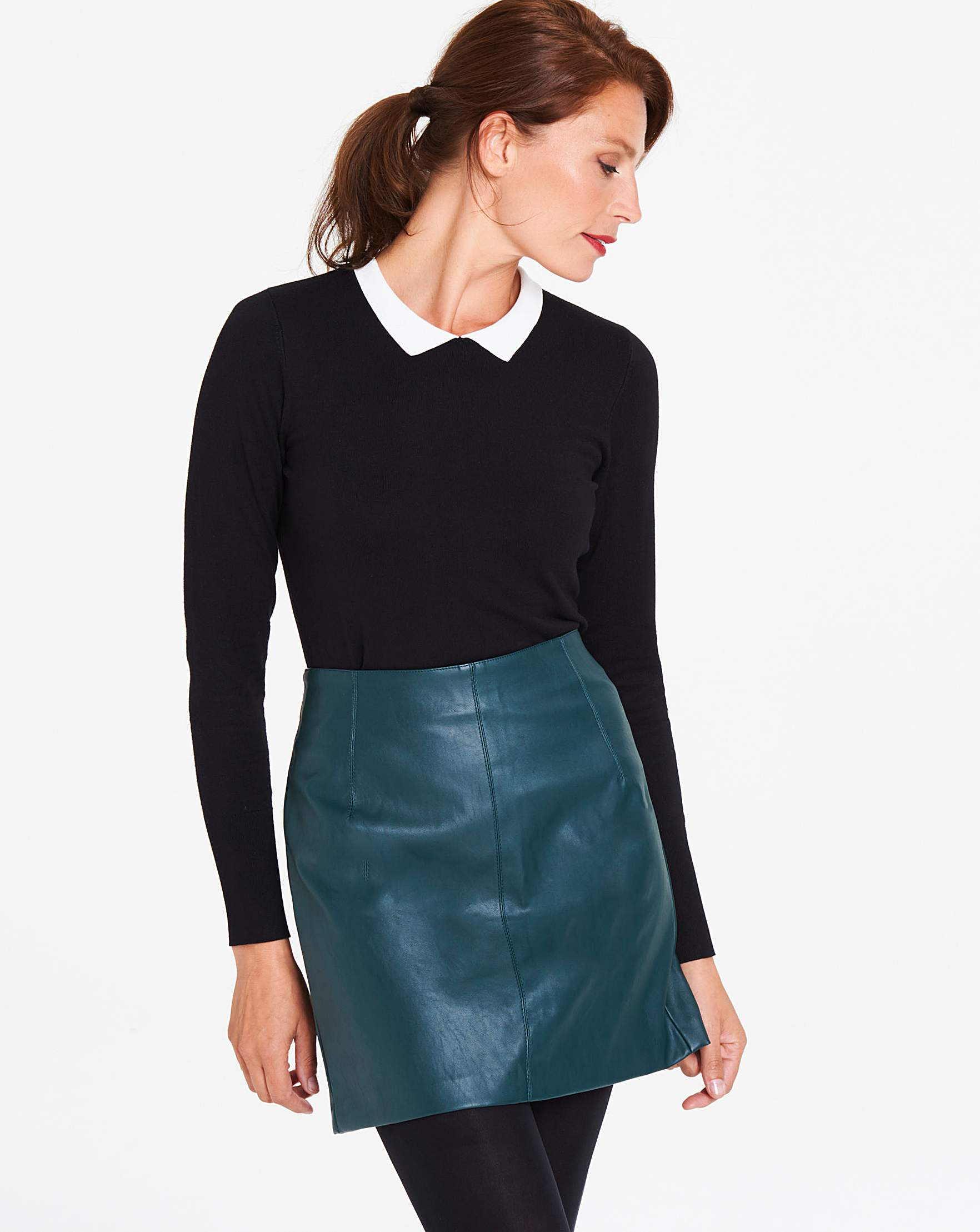 37b09bb78a Oasis Faux Leather Midi Skirt