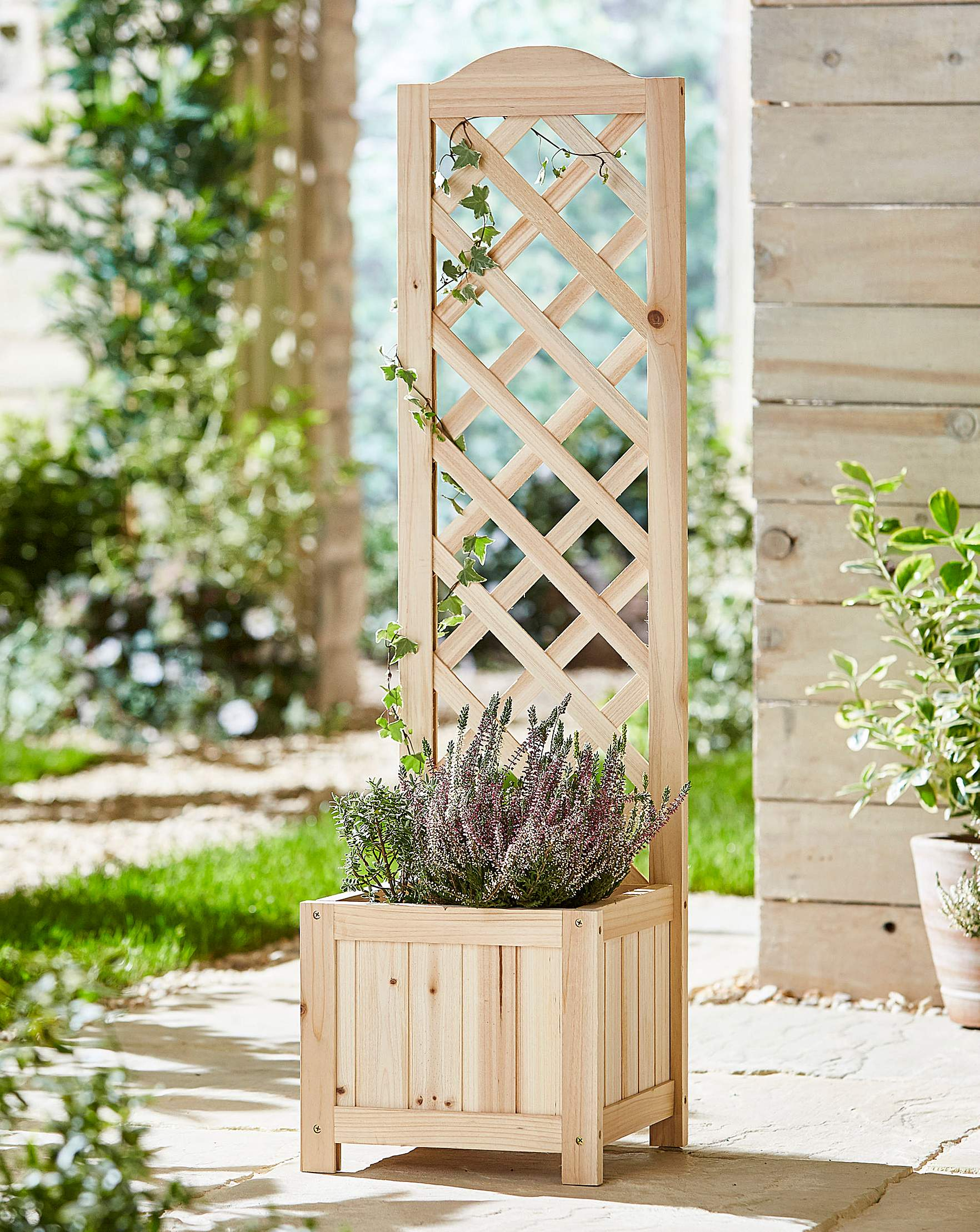 Narrow Wooden Trellis Planter J D Williams