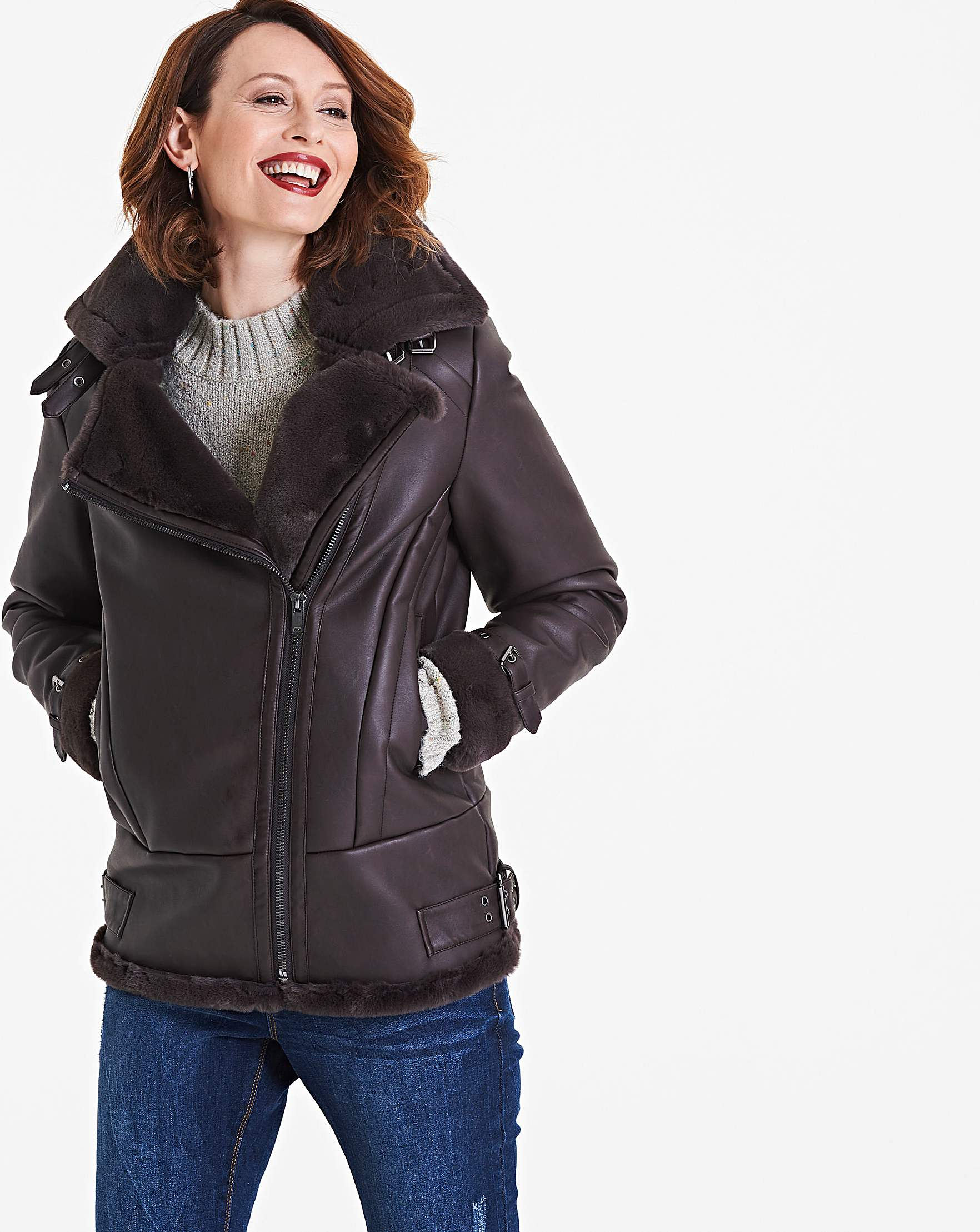 wholesale outlet cozy fresh aesthetic appearance Chocolate PU Aviator Jacket