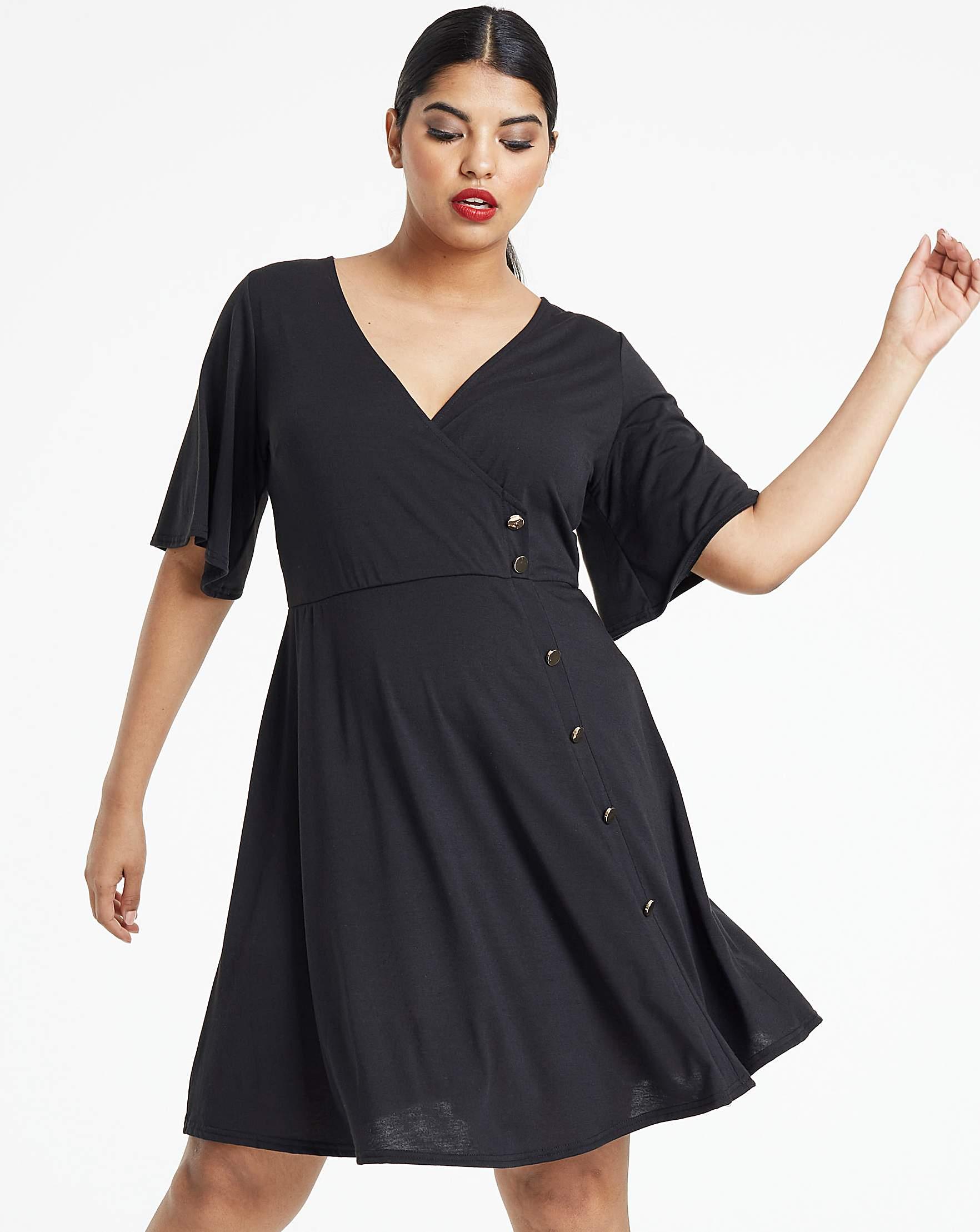 06b960be31 Black Button Through Wrap Skater Dress