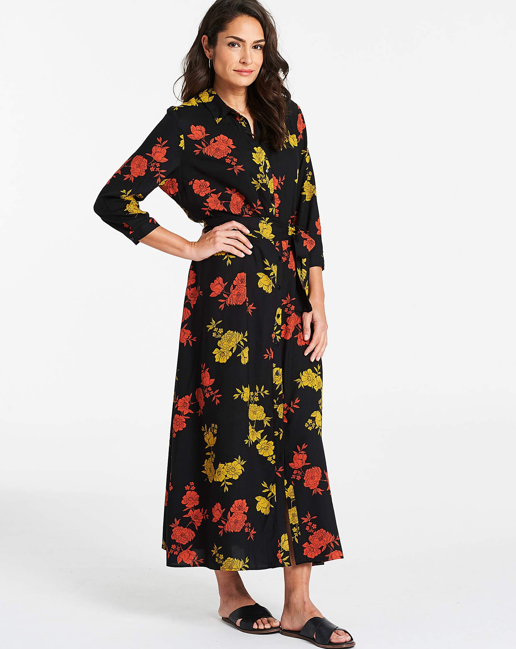 6e3eacf6c5 Floral Print Long Line Shirt Dress