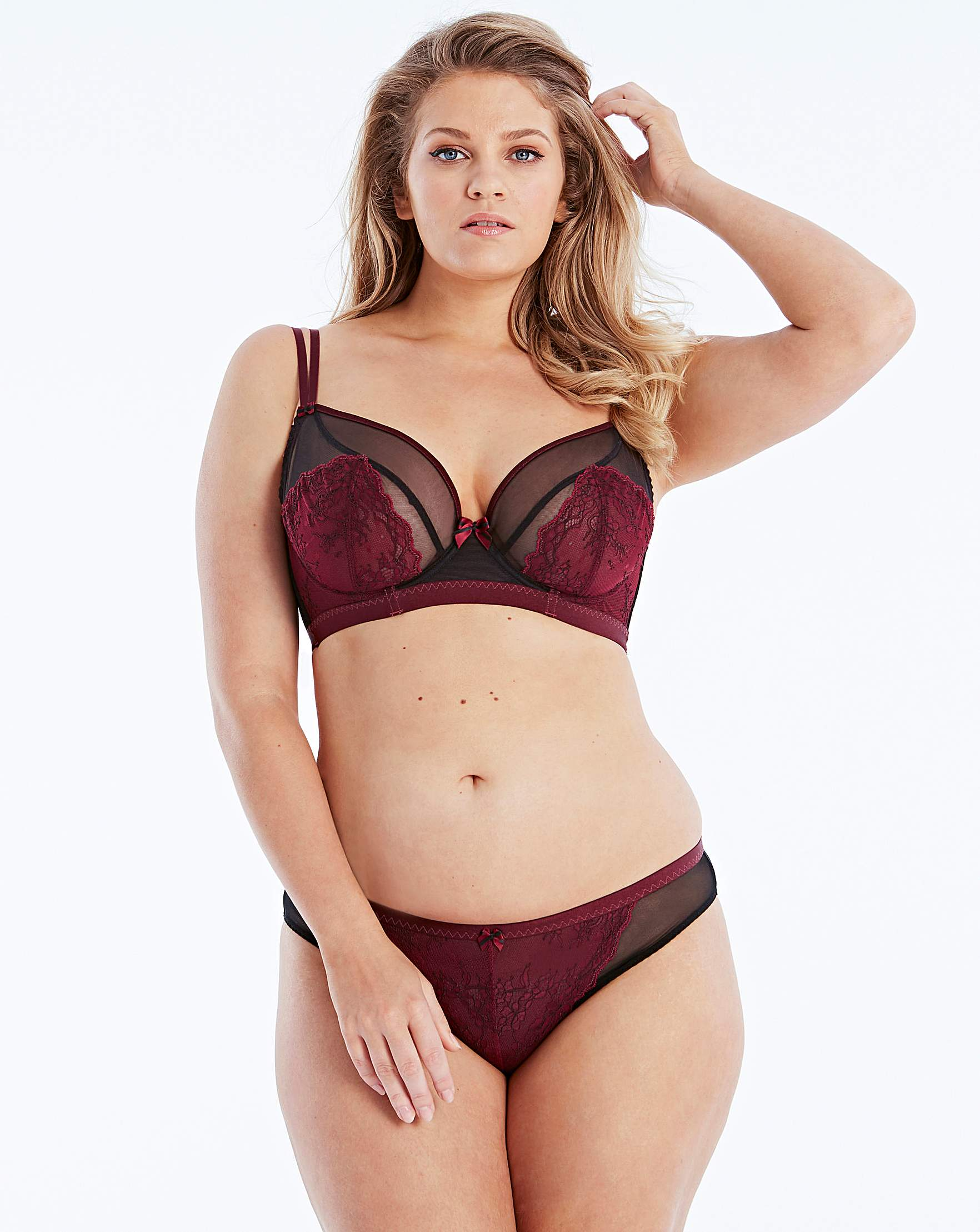 f782aebac8 Curvy Kate Dragonfly Plunge Wired Black Wine Bra