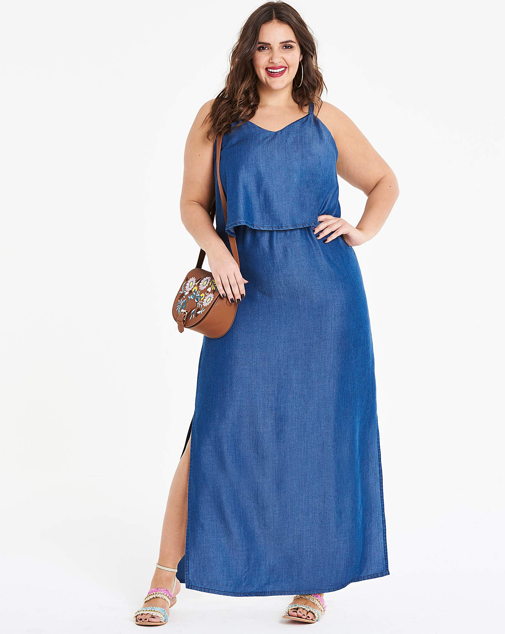 Soft Lyocell Denim Layer Maxi Dress | Simply Be