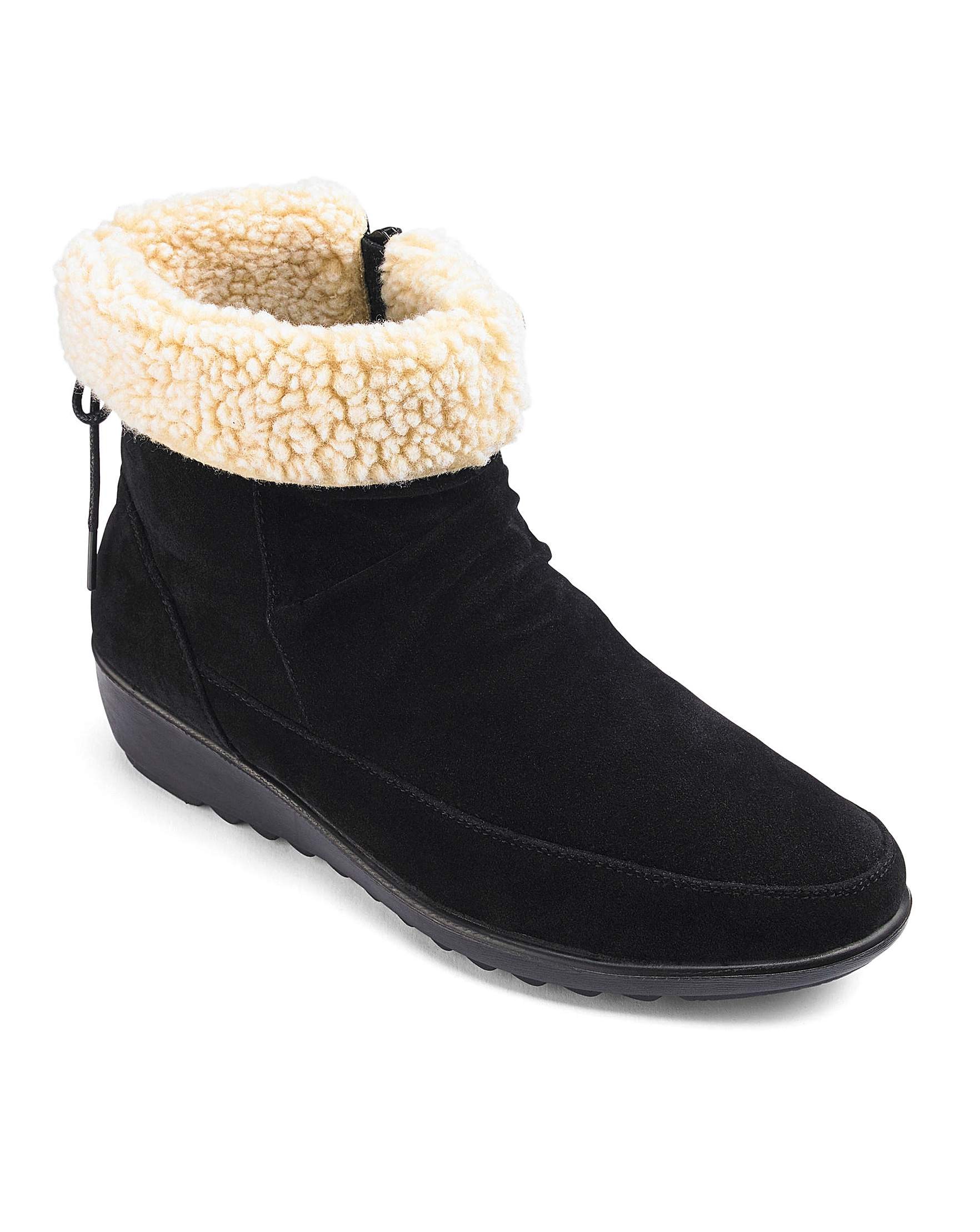 6c86b3ed9c7 Cushion Walk Warmlined Side Zip Ankle Boots Wide E Fit