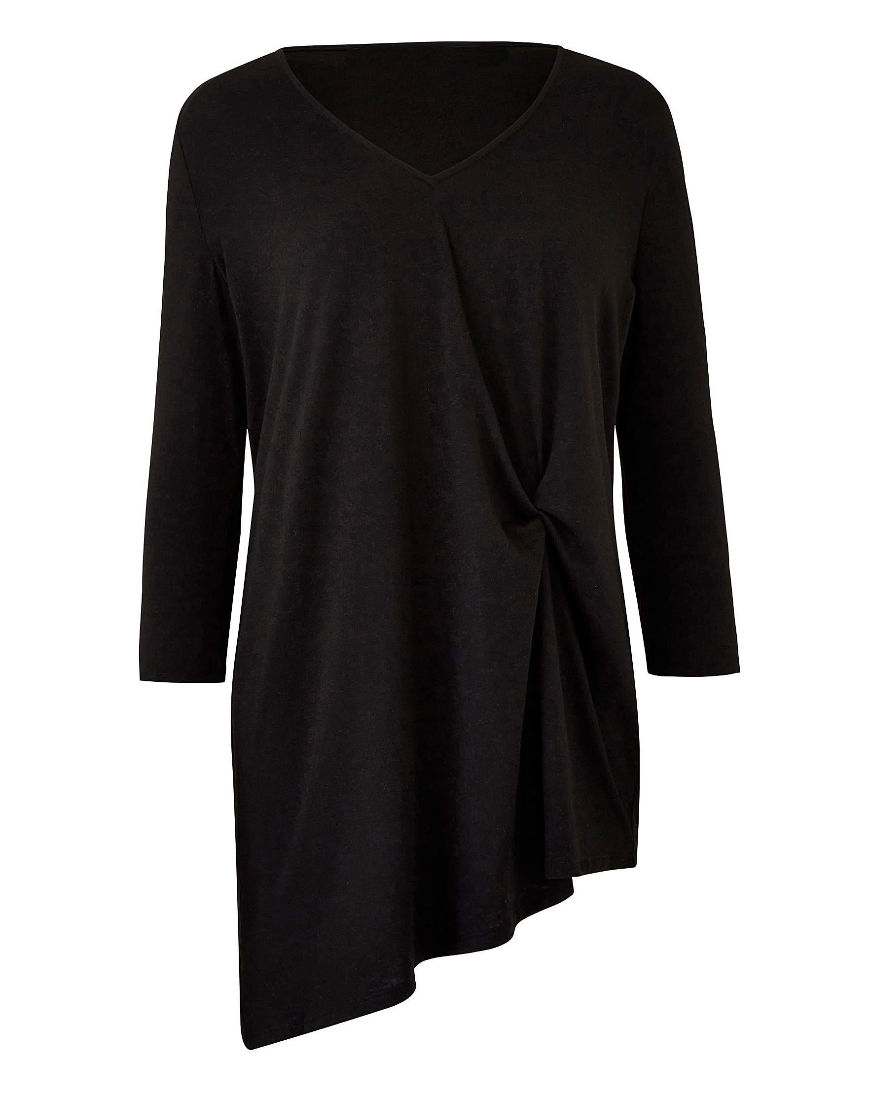 1633fbb5ae4 Black Twist Asymmetric Hem Tunic