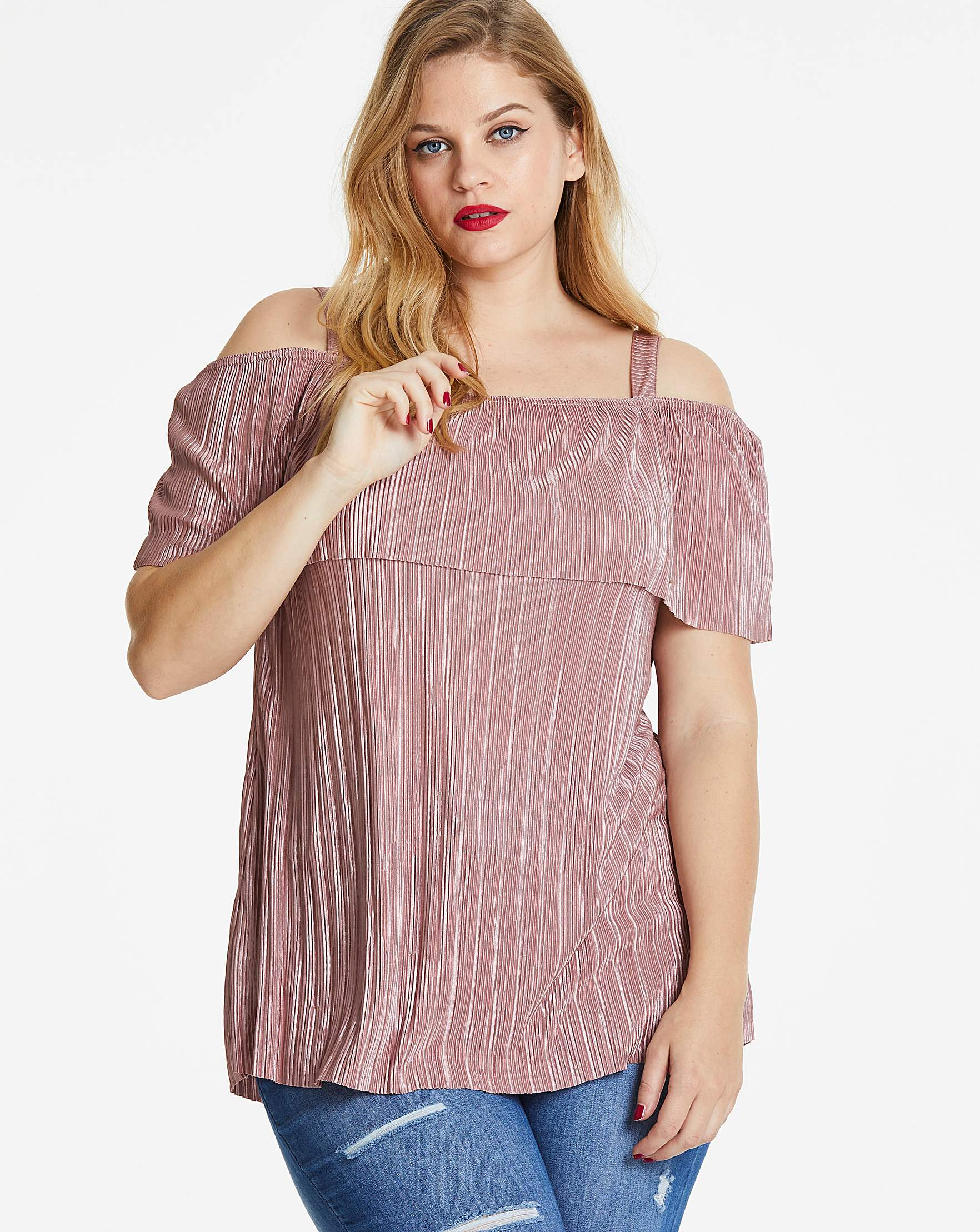 e3aed7c12e78d8 Blush Plisse Cold Shoulder Bardot Top