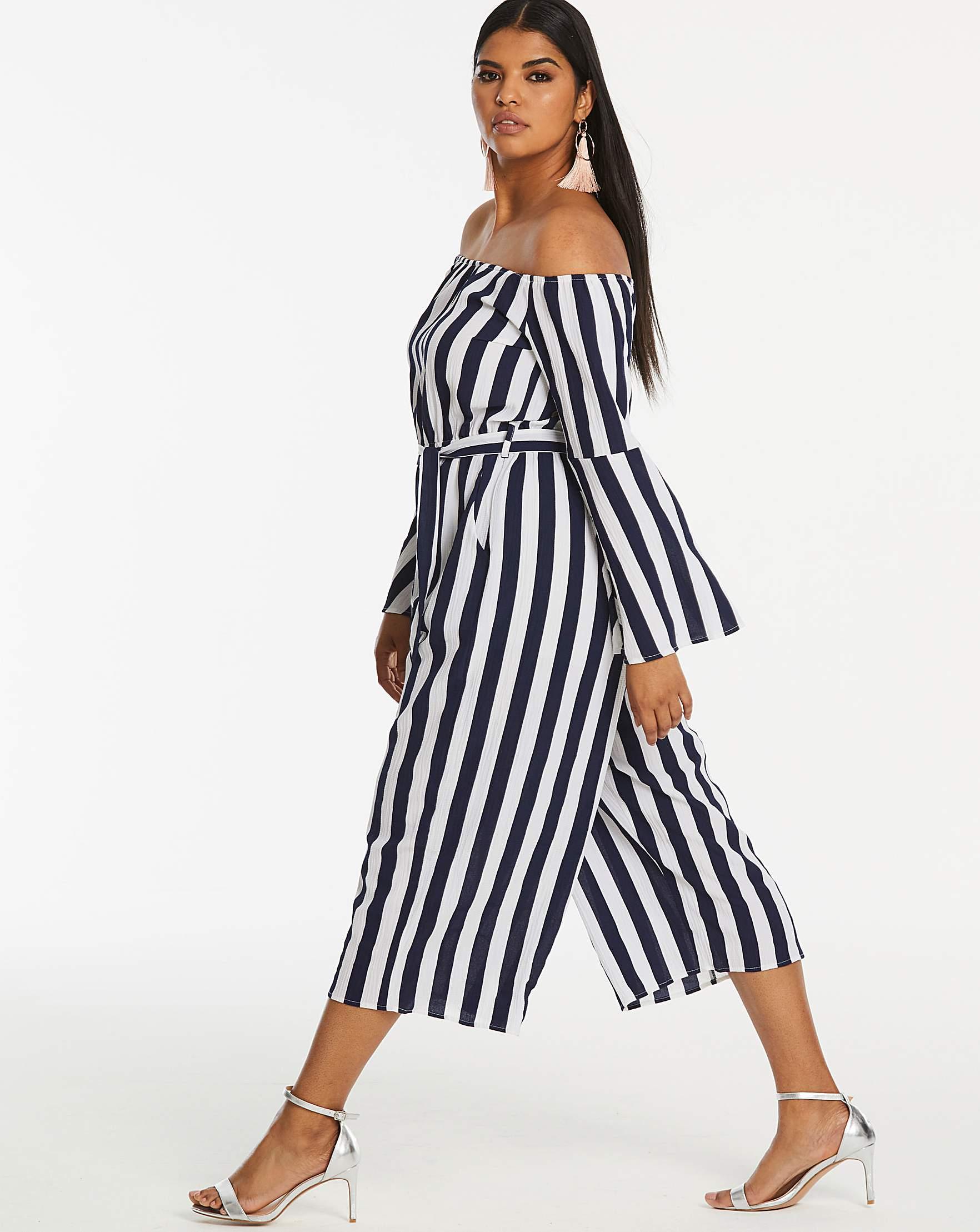 48df63d2281 AX Paris Curve Bardot Stripe Jumpsuit